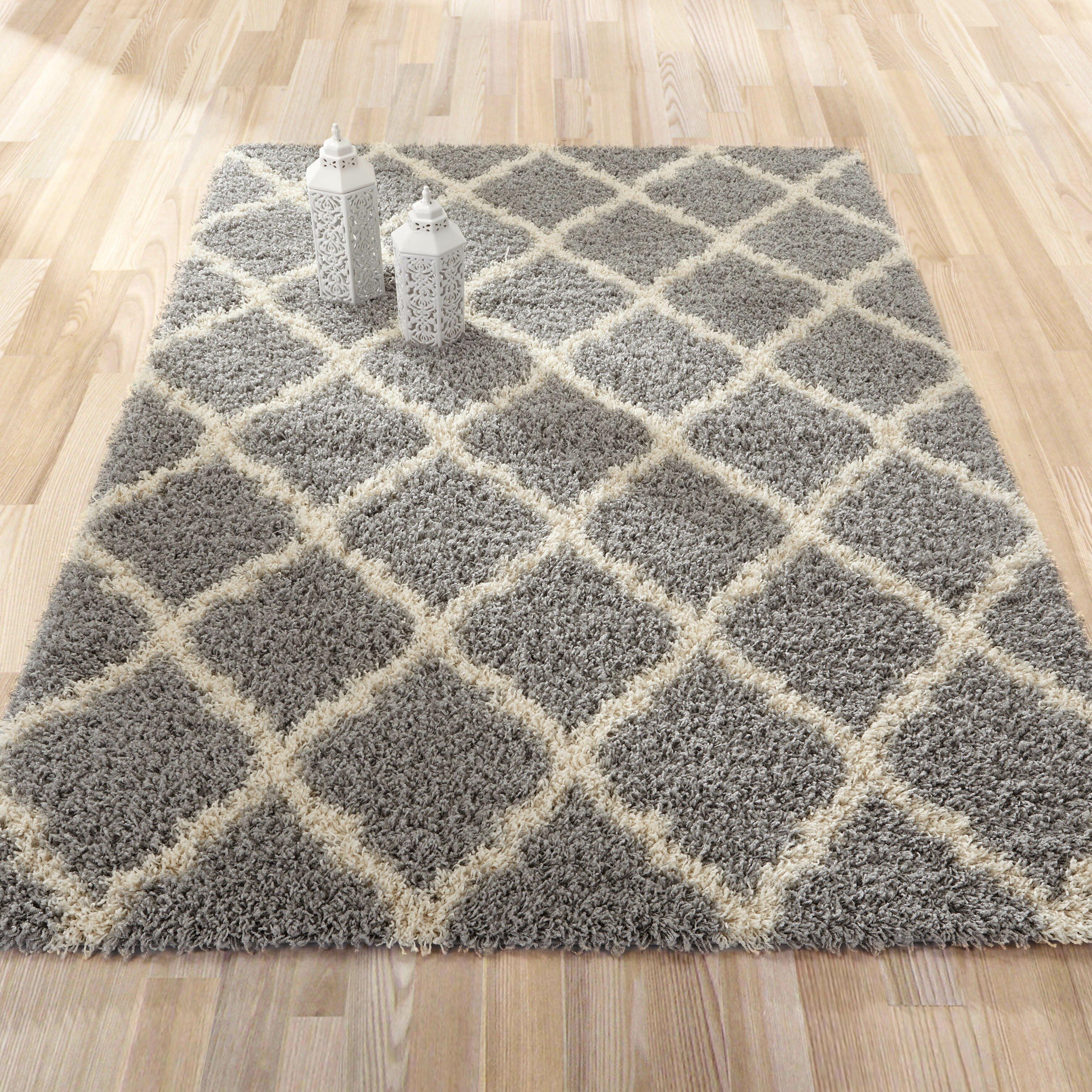 Shaggy Wool Rugs: Ottomanson Ultimate Moroccan Trellis Gray Shaggy Area Rug