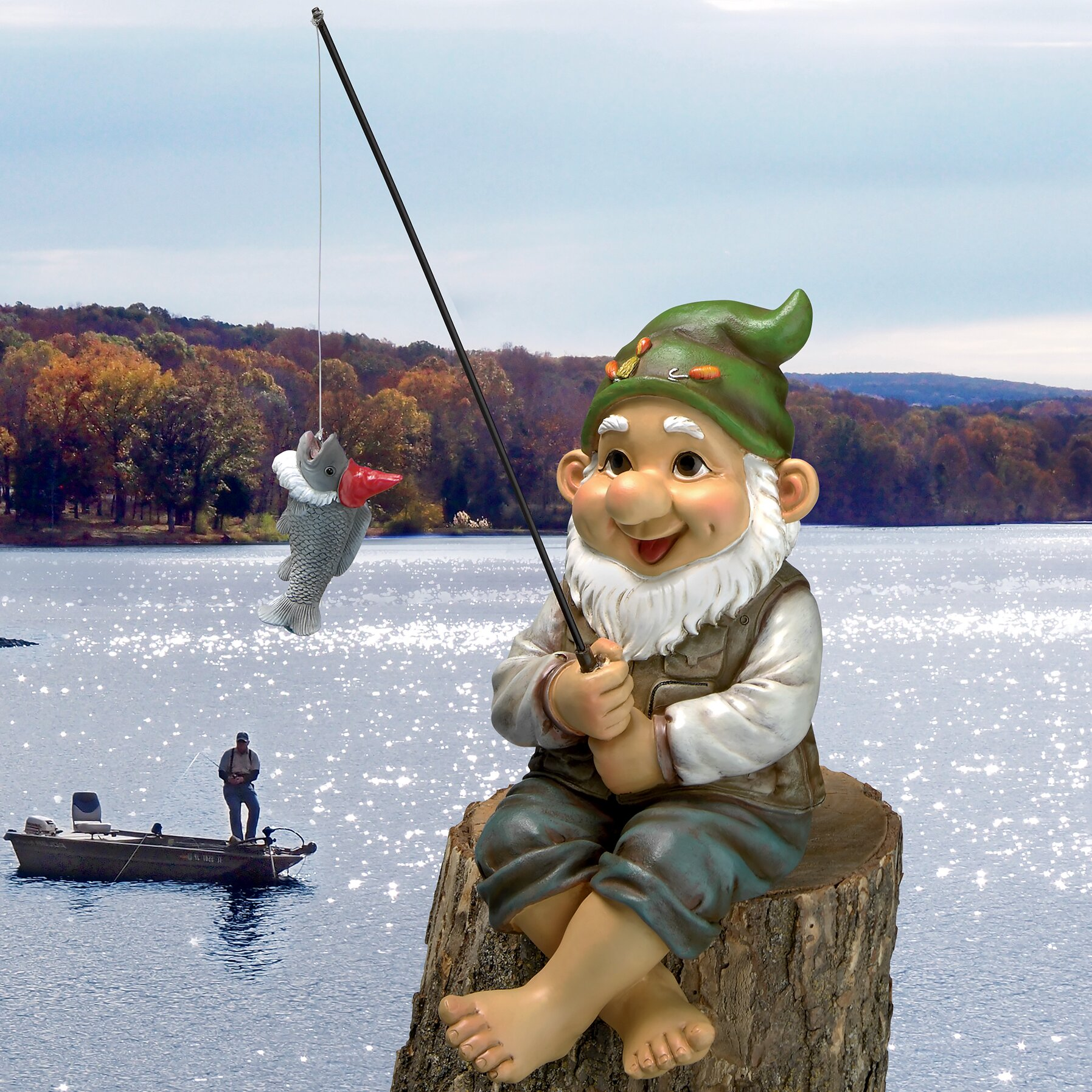 Design Toscano Ziggy the Fishing Gnome Garden Statue & Reviews