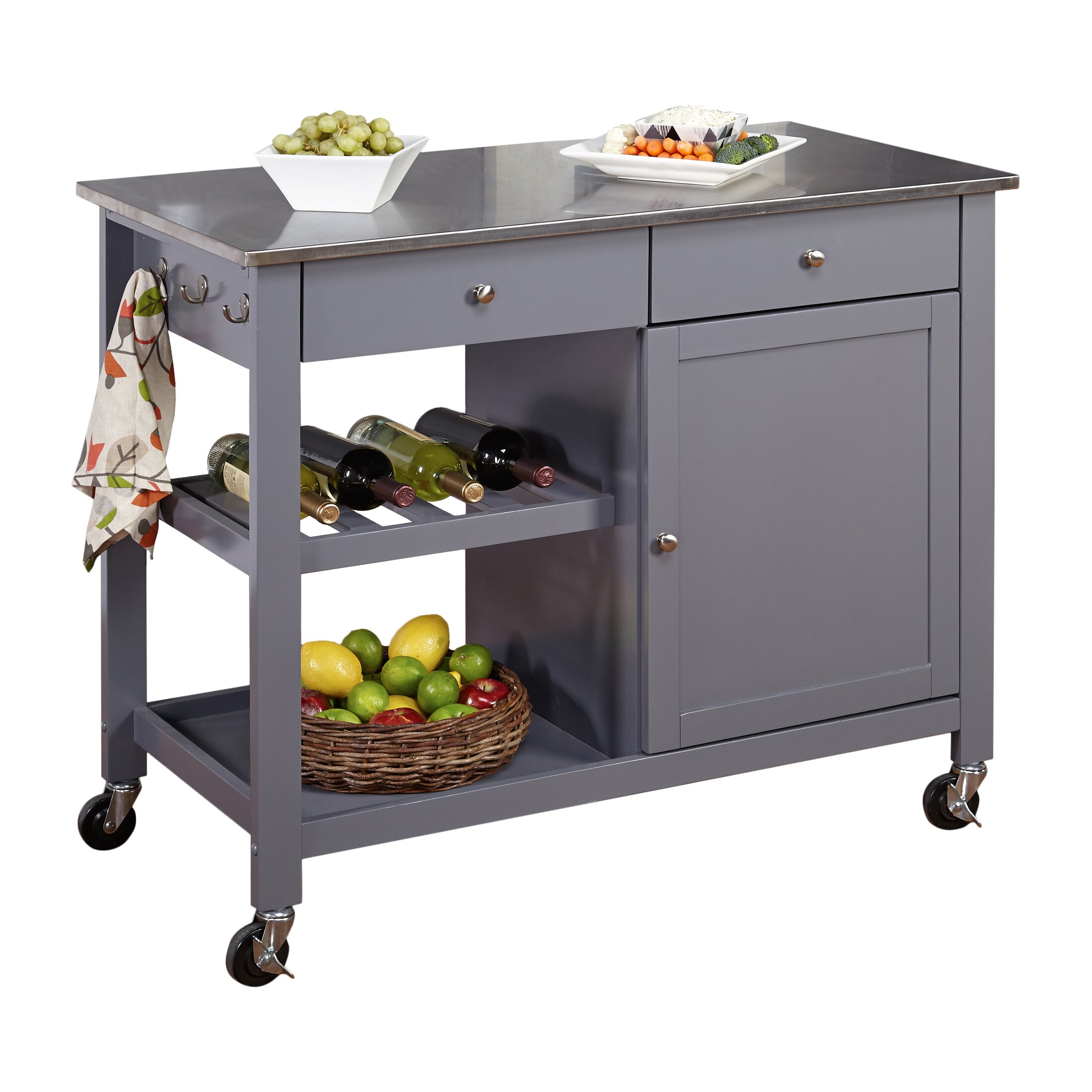 tms columbus kitchen island with stainless steel top crosley furniture cambridge stainless steel top kitchen