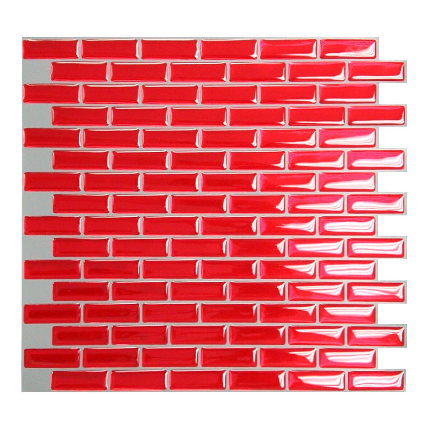 smart tiles mosaik murano cosmo x peel stick wall tile in red reviews wayfair. Black Bedroom Furniture Sets. Home Design Ideas