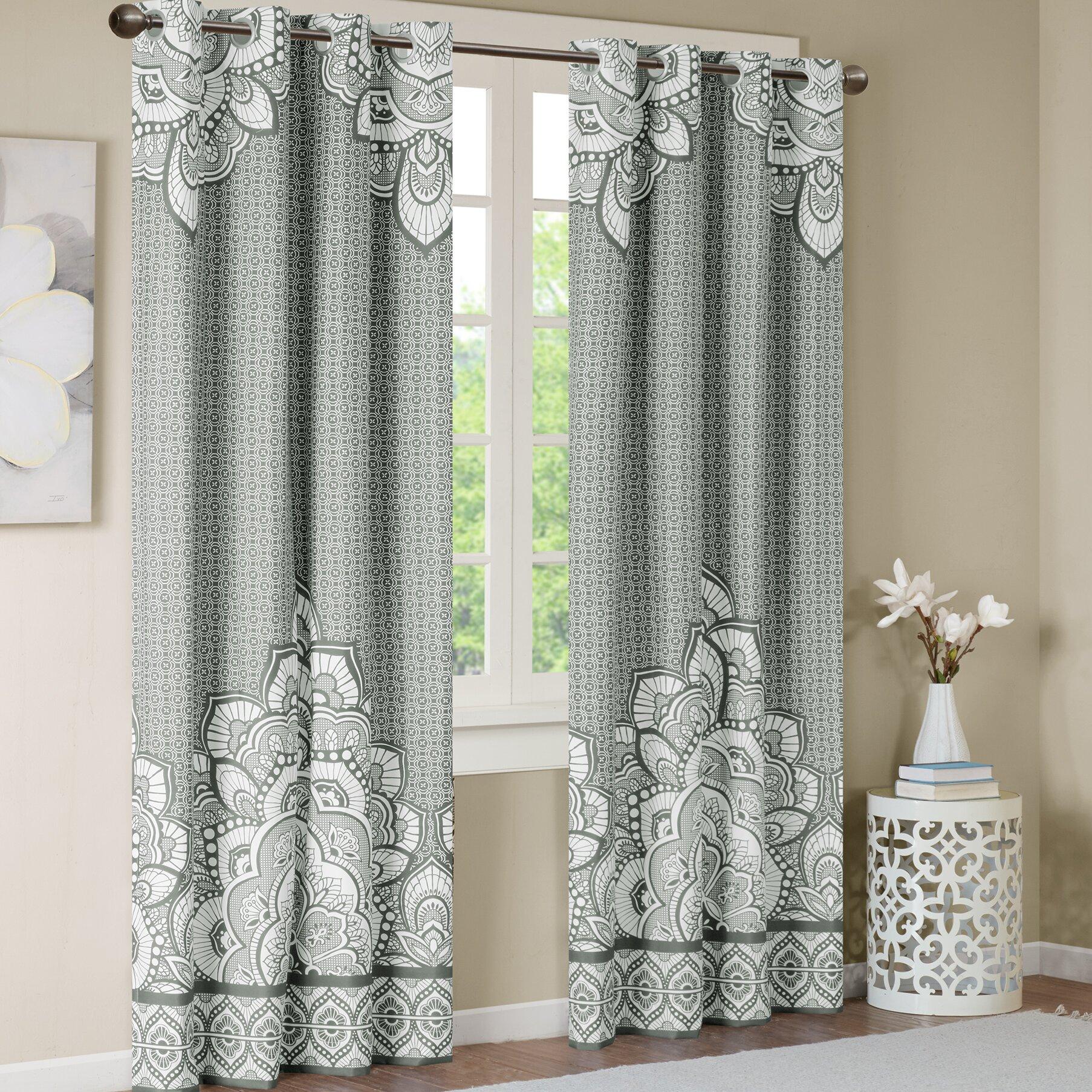 Ida Geometric Blackout Grommet Single Curtain Panel