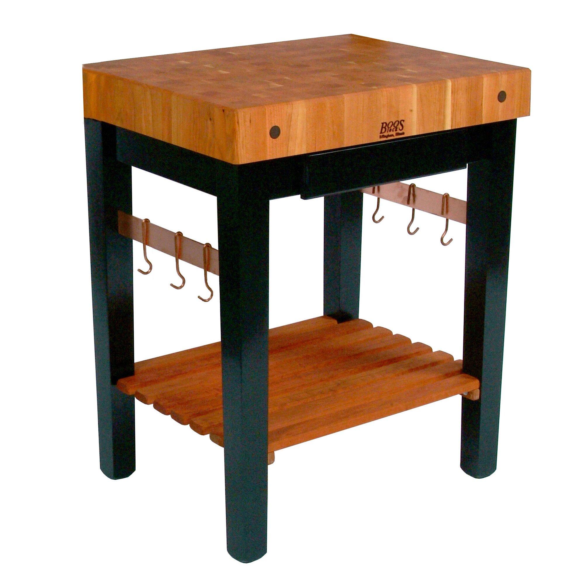 john boos rouge et noir prep table with butcher block top