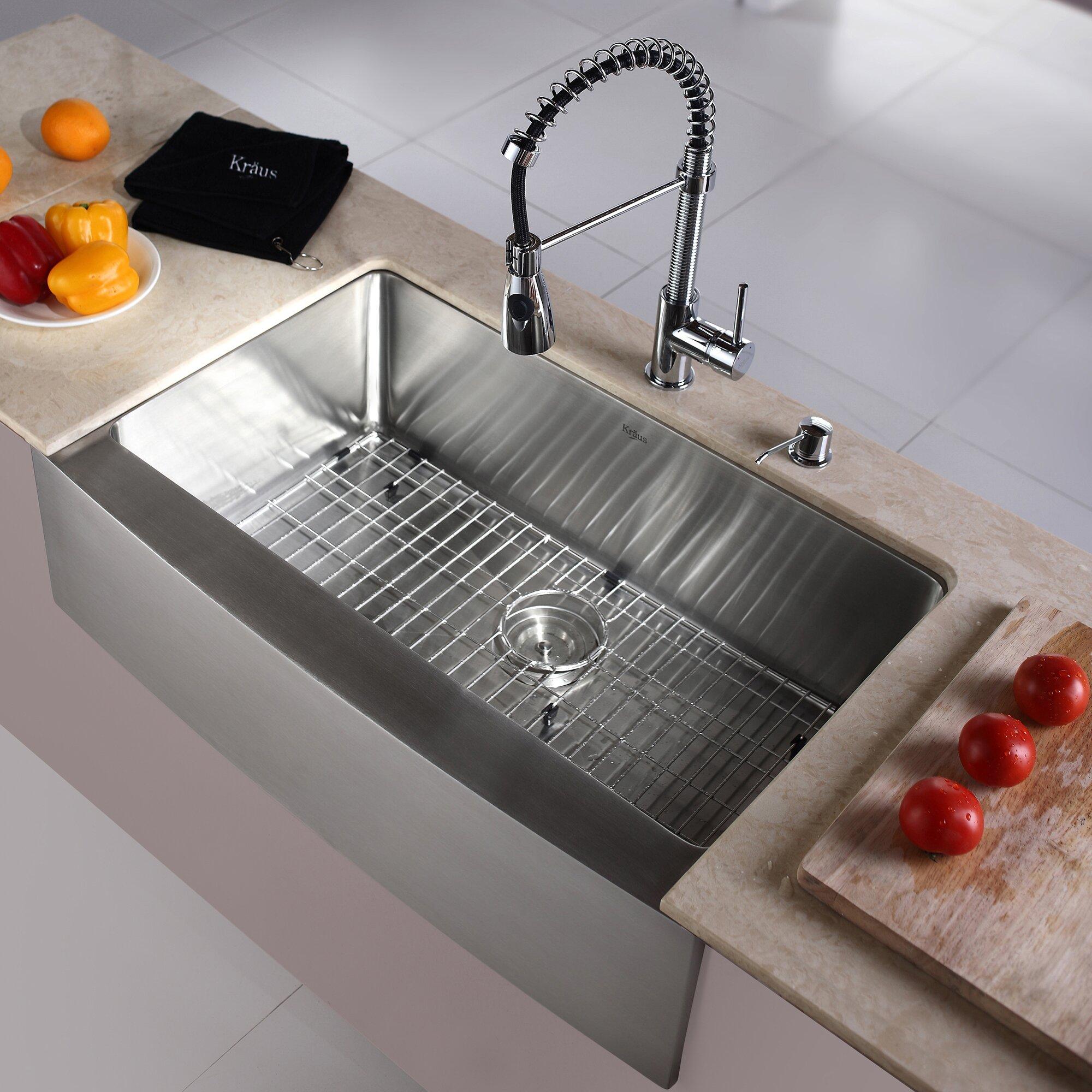 delightful Kraus Kitchen Sink #9: Kraus Kitchen Combo 33u0026quot; x 21u0026quot; Single Basin Farmhouse/Apron Kitchen  Sink with