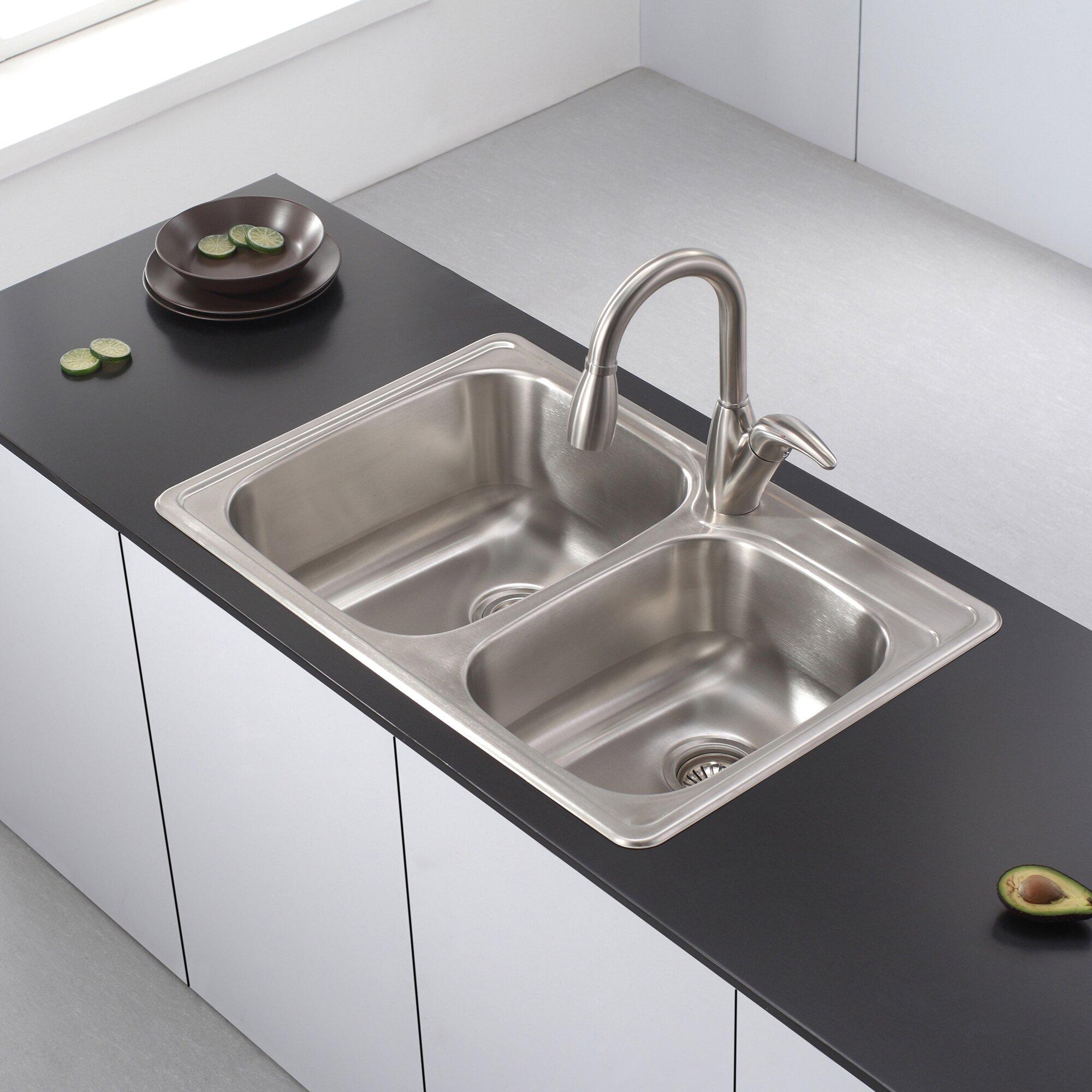 """kraus 33"""" x 22"""" 4 piece topmount 60/40 double bowl kitchen sink"""