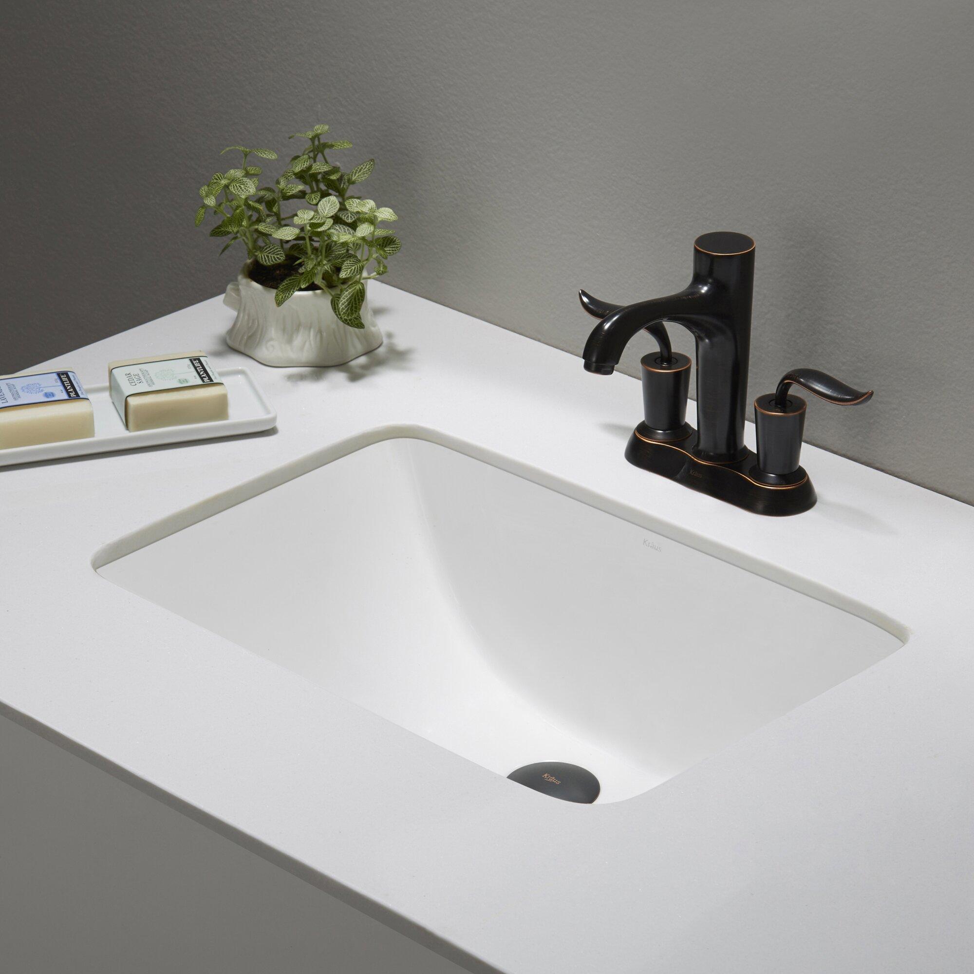 Kraus Elavo Ceramic Rectangular Undermount Bathroom Sink with Overflow ...