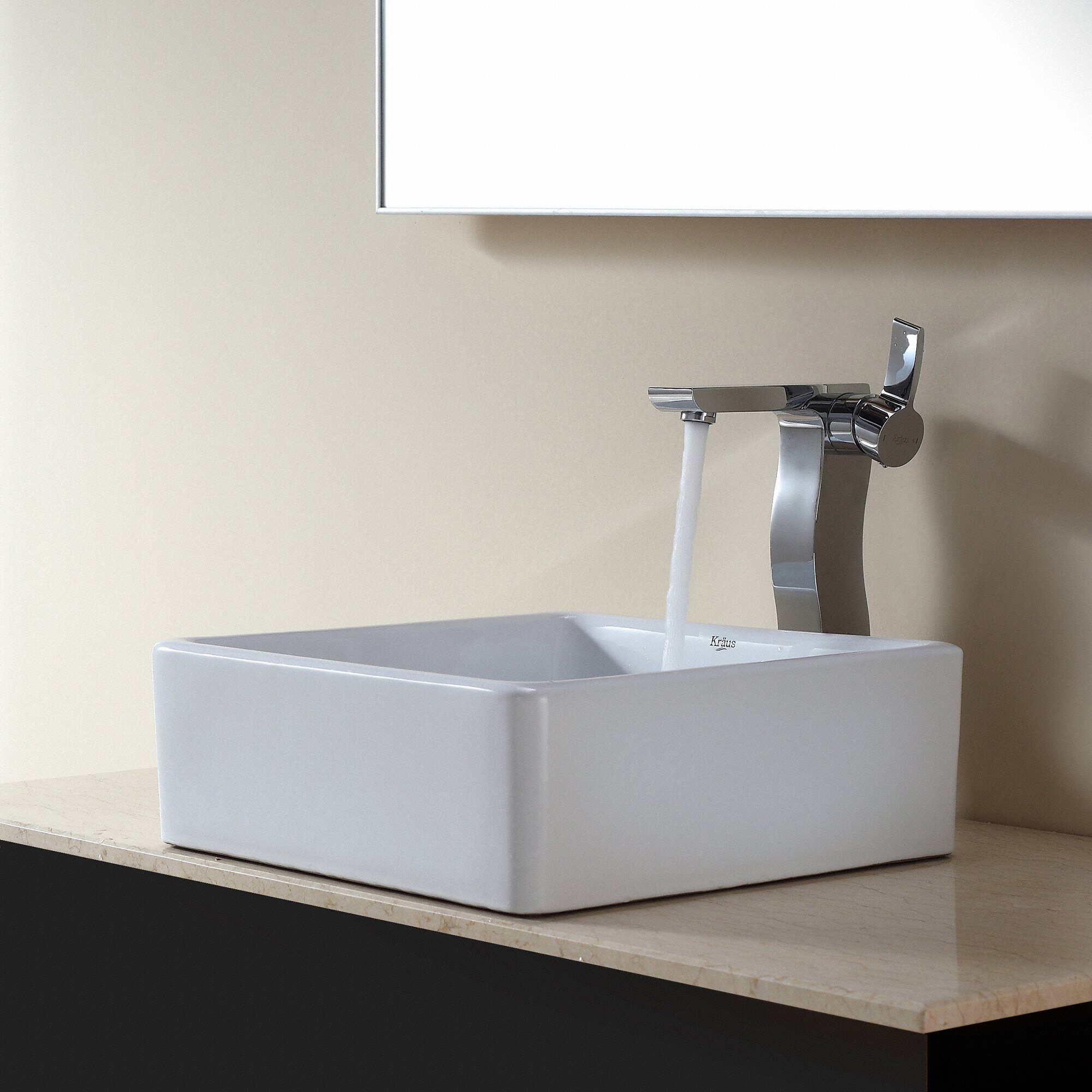 Square Vessel Bathroom Sink : Kraus Ceramic Square Vessel Bathroom Sink & Reviews Wayfair
