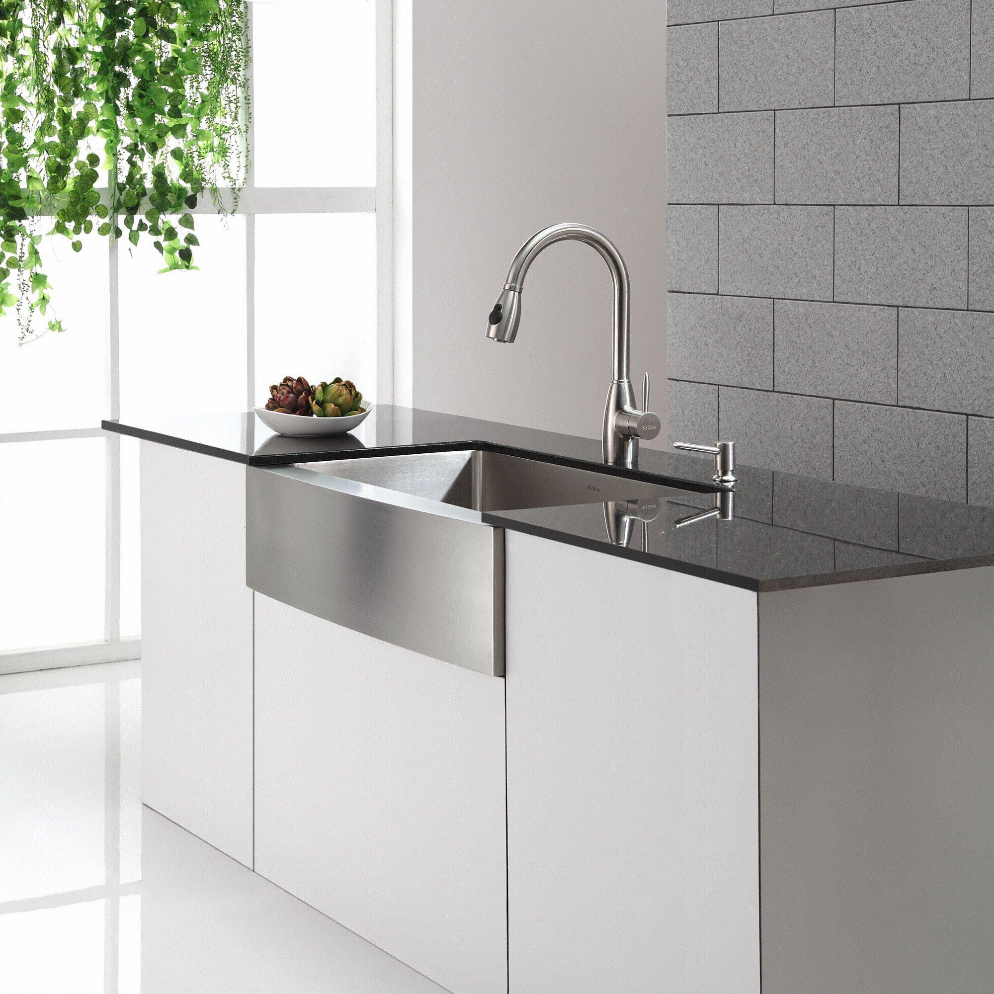 Kitchen Sink Furniture Kraus Stainless Steel 3588 X 2075 Farmhouse Kitchen Sink With