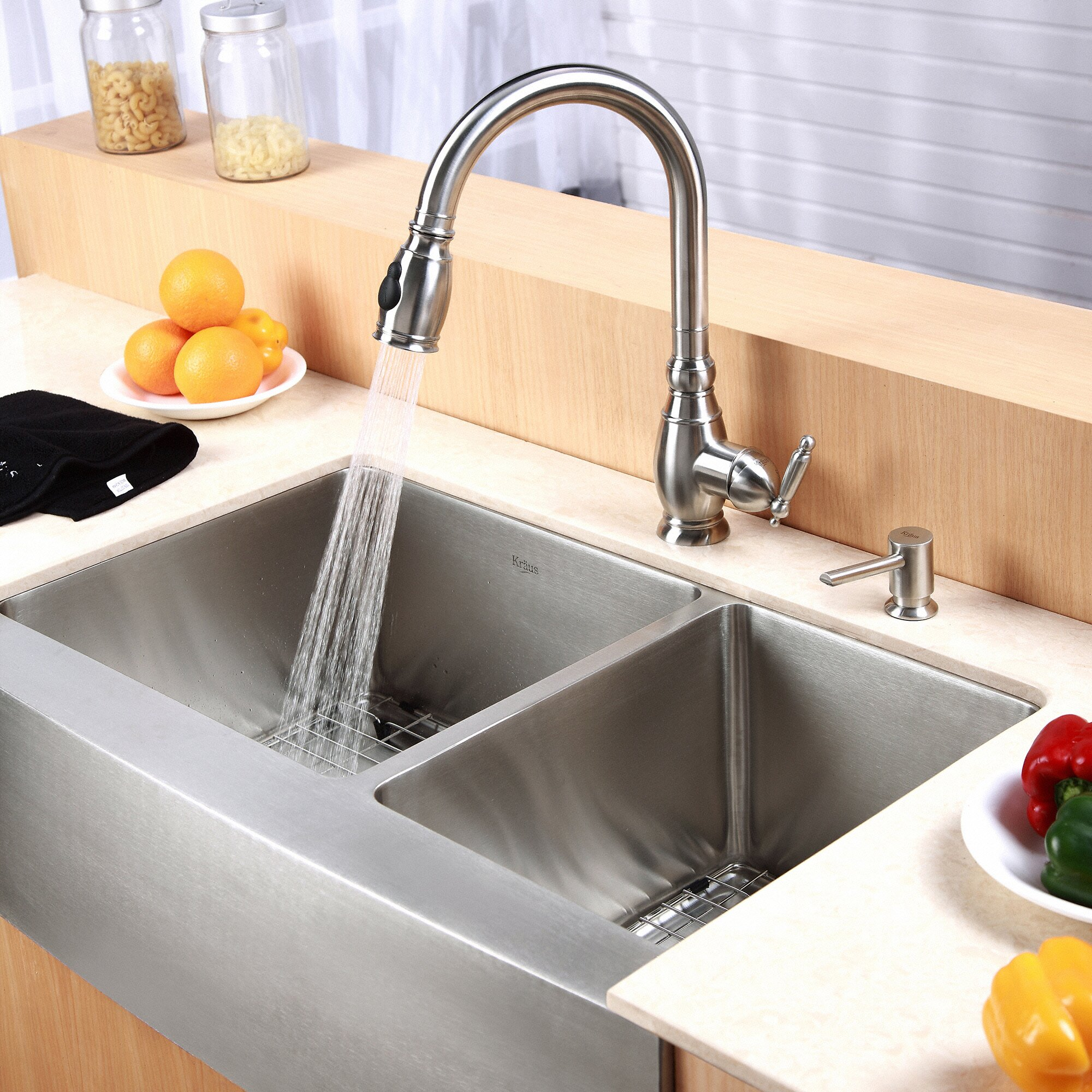 "Kraus Farmhouse 33"" 60/40 Double Bowl Kitchen Sink"
