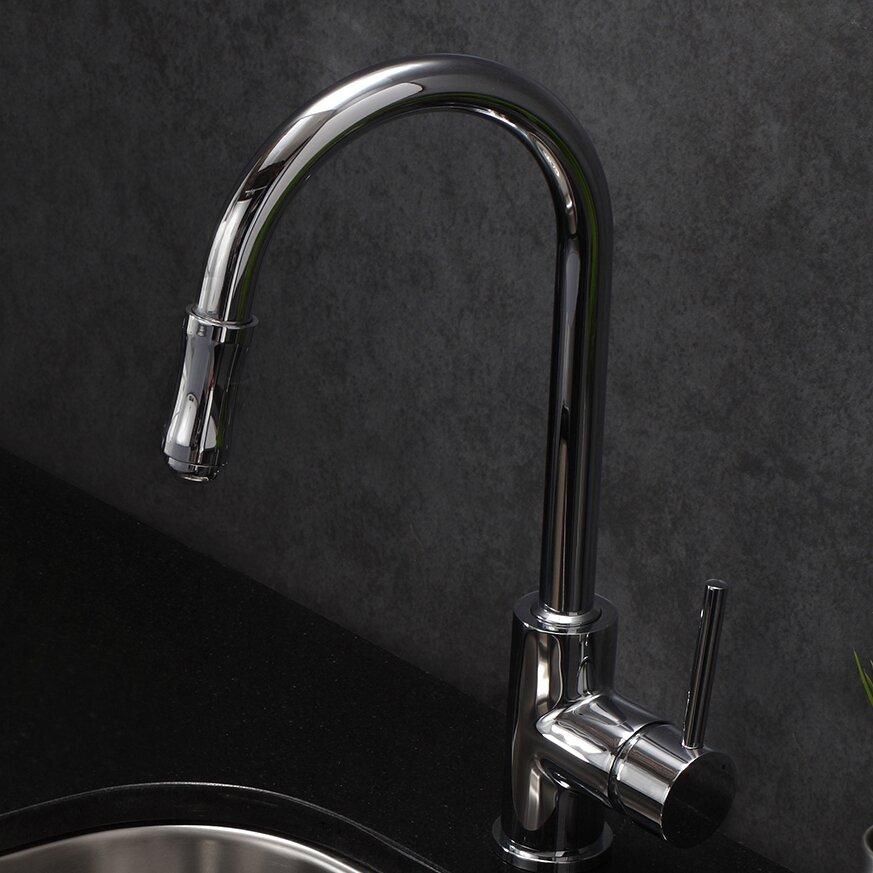 kraus premium faucet single handle pull down kitchen shop kraus premium kitchen faucet chrome 1 handle pull