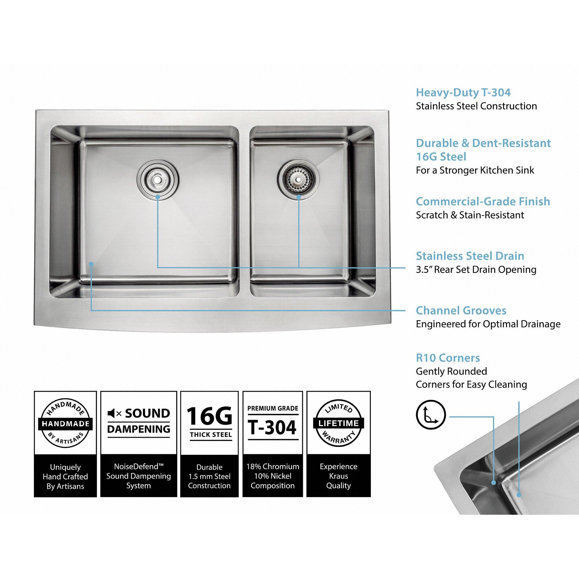 "kraus farmhouse 33"" 60/40 double bowl kitchen sink & reviews | wayfair"