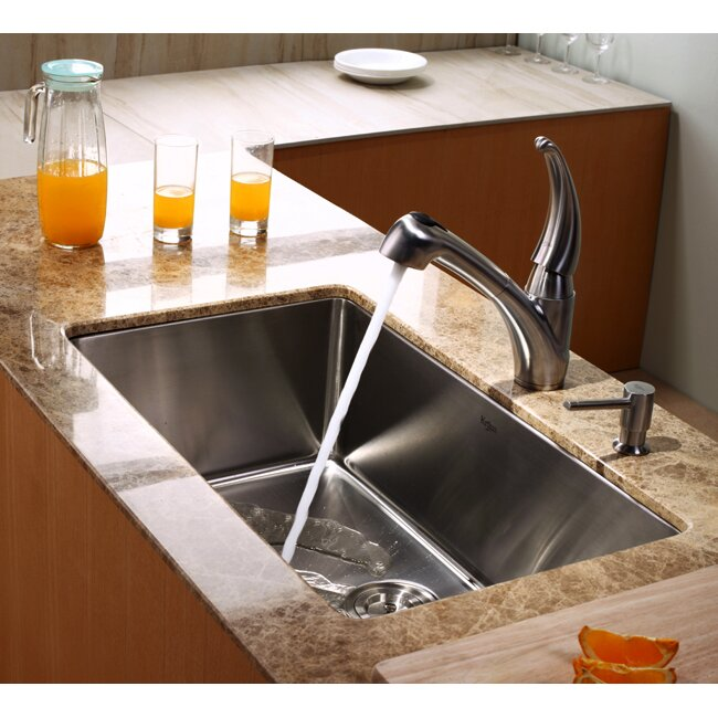 kraus single handle single hole kitchen faucet with pull