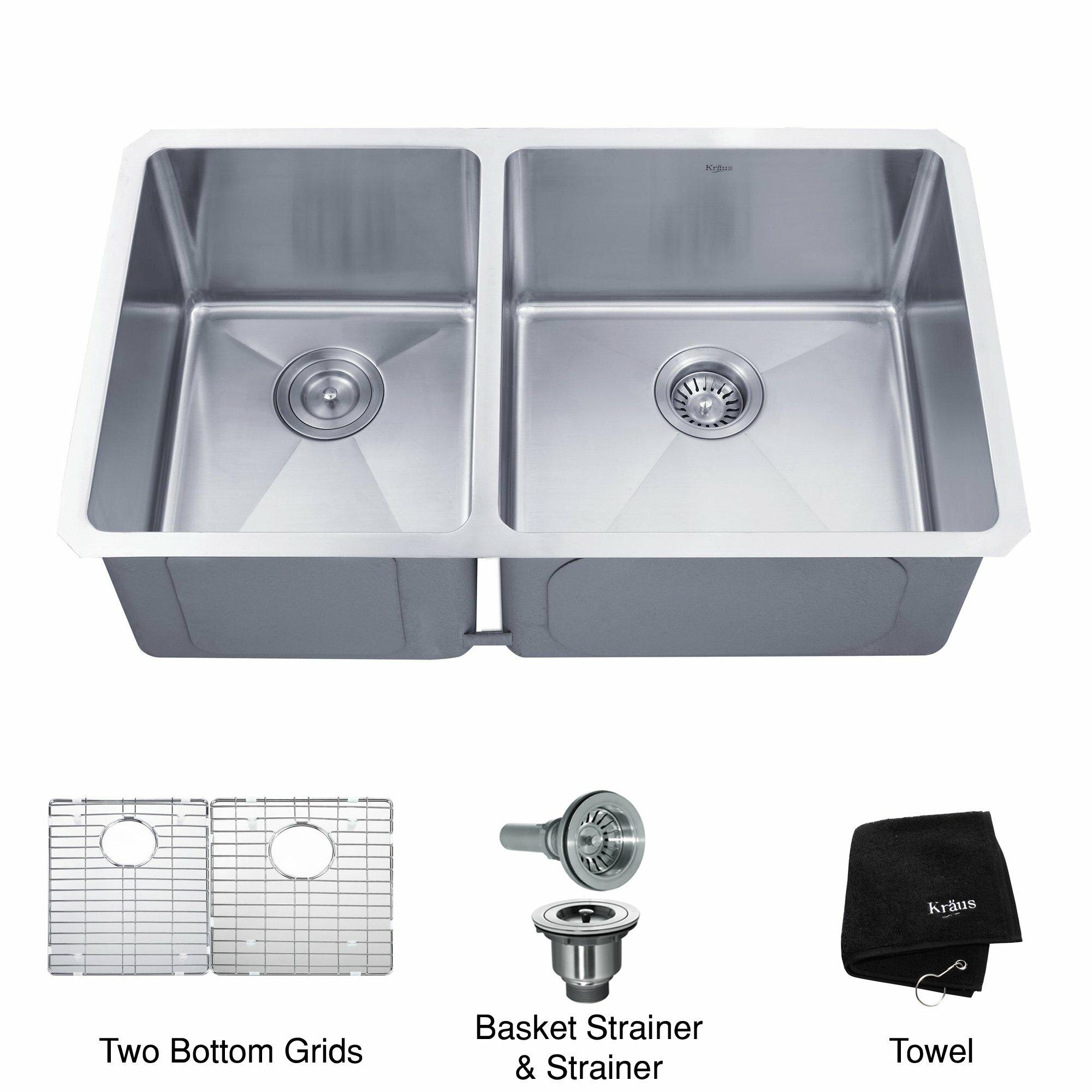 """kraus 32.75"""" x 19"""" 6 piece undermount 60/40 double bowl kitchen"""