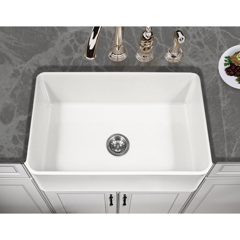 Houzer platus 30 x 20 apron front fire clay single bowl kitchen sink reviews wayfair - Bq kitchen sinks ...