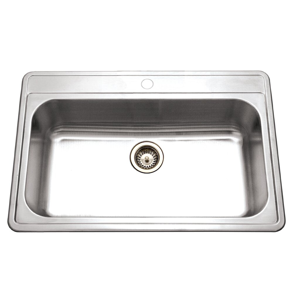beautiful Single Basin Kitchen Sink 33 X 22 #4: Houzer Premiere Gourmet 33u0026quot; x 22u0026quot; Topmount Single Bowl Kitchen  Sink
