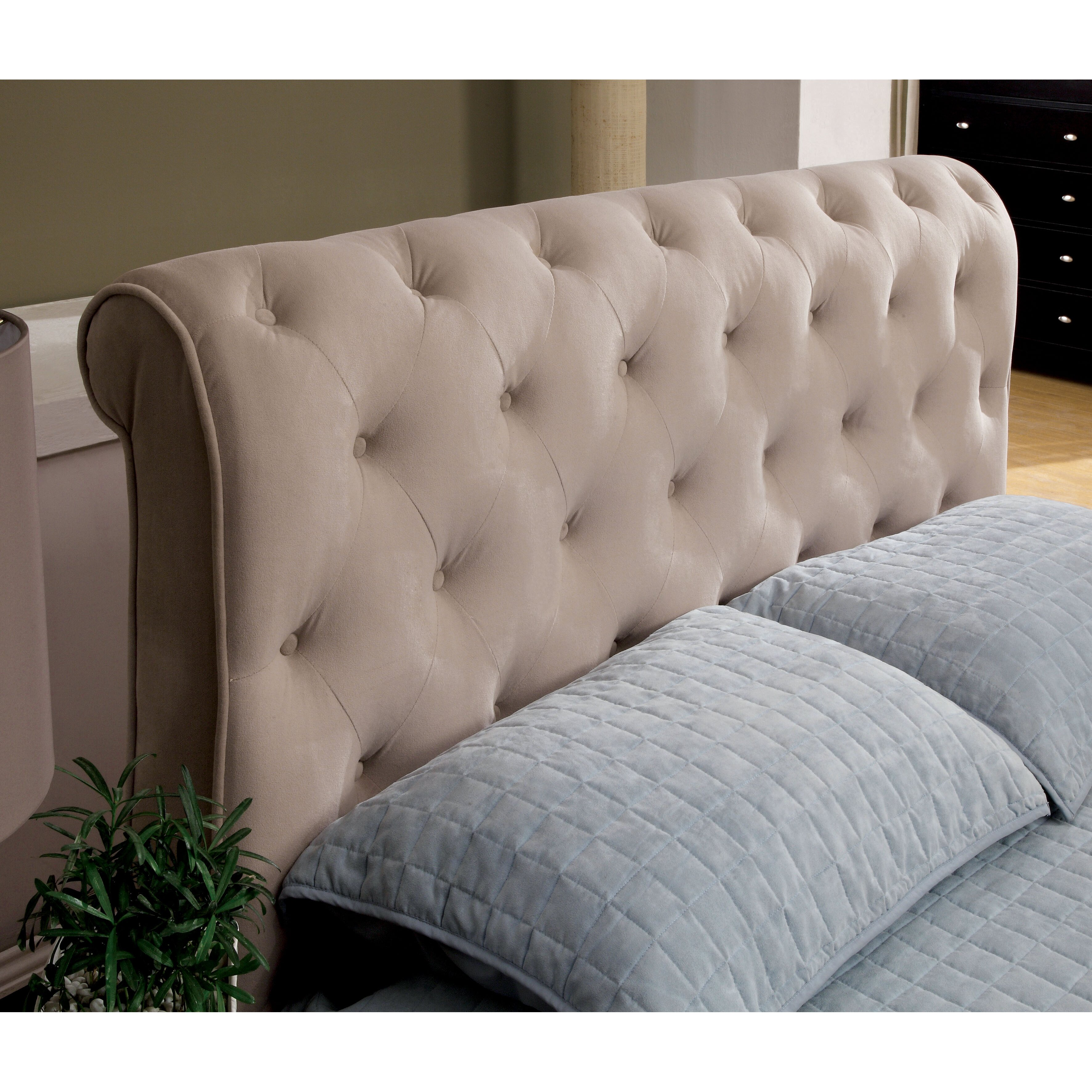 How to cover a headboard - Hokku Designs Concord Upholstered Sleigh Headboard
