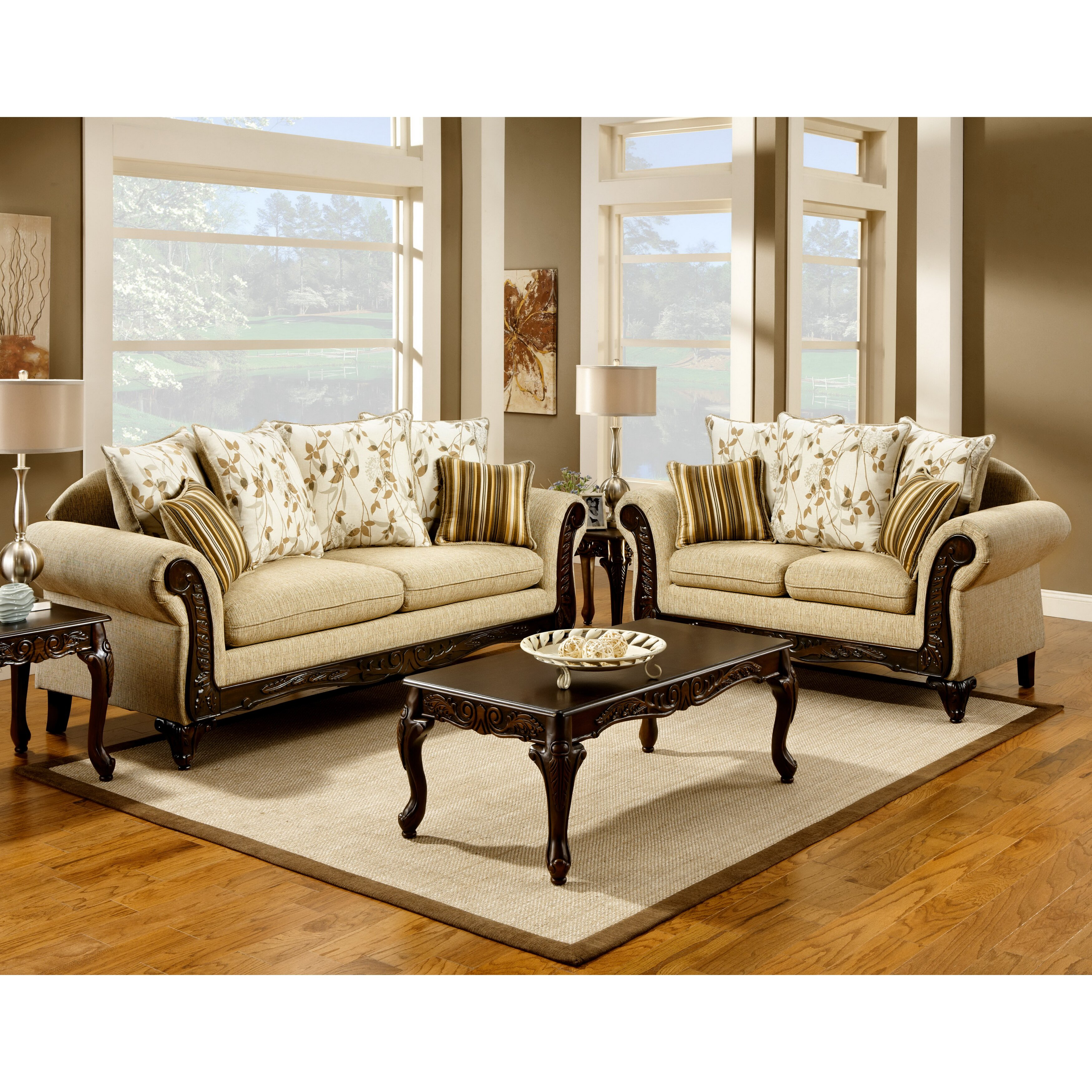 Hokku Designs Aveline Tan Fabric Sofa Set & Reviews