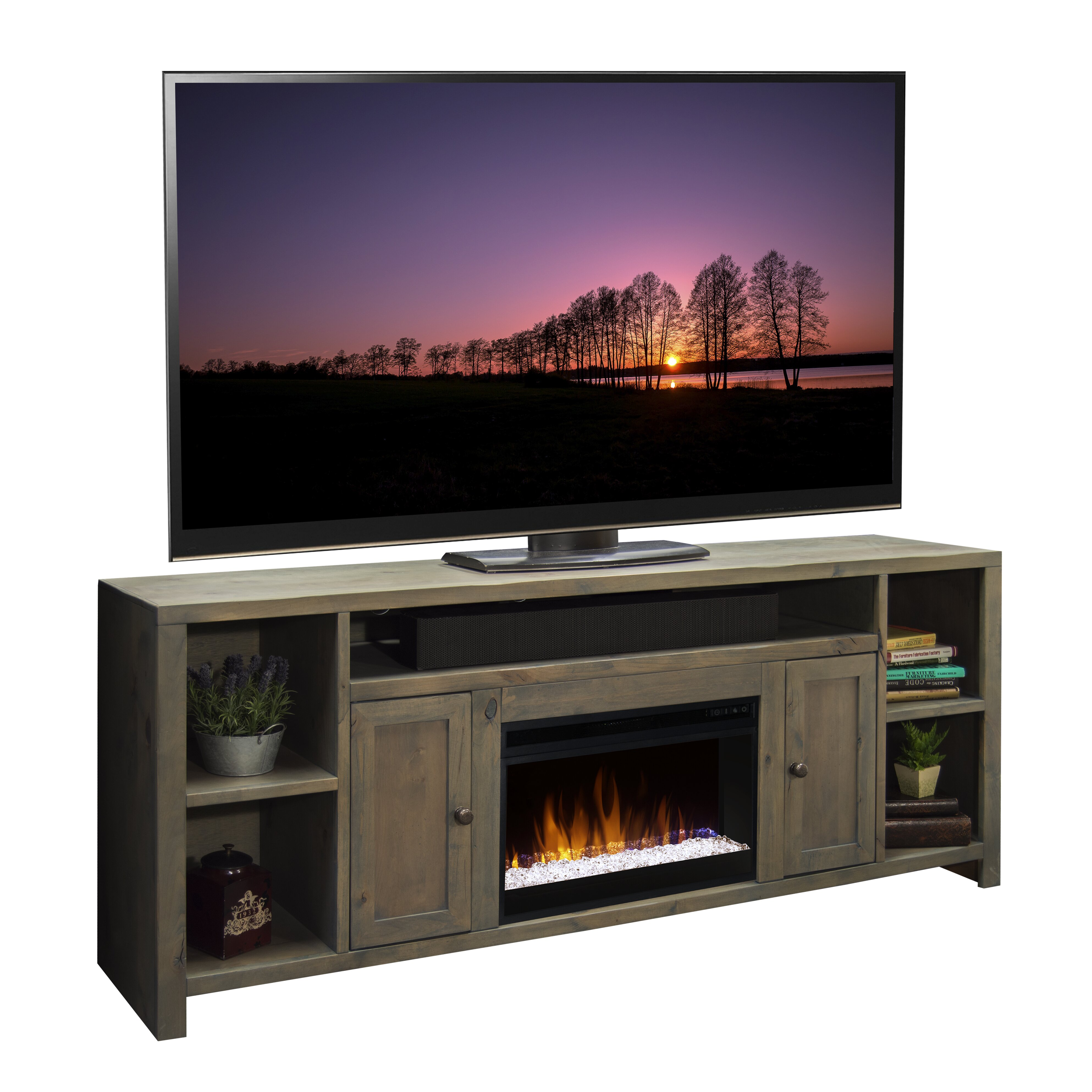 White tv stand with electric fireplace - Columbus 84 Tv Stand With Electric Fireplace