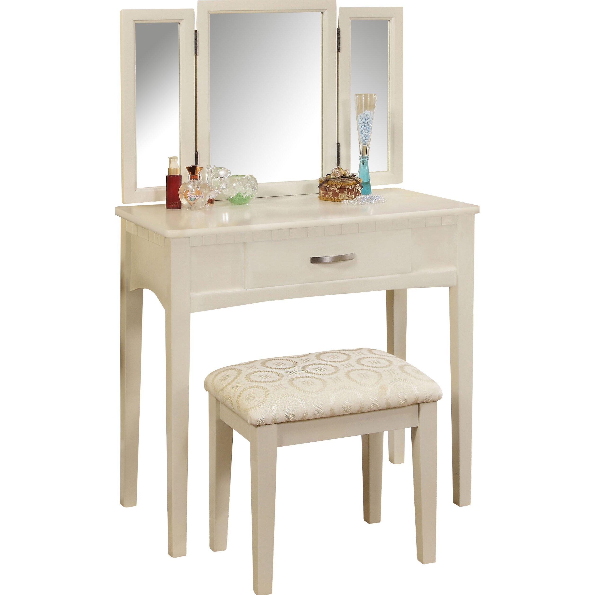 Hokku Designs Luisa Vanity with Mirror  amp  Stool Set. Hokku Designs Luisa Vanity with Mirror   Stool Set   Reviews   Wayfair