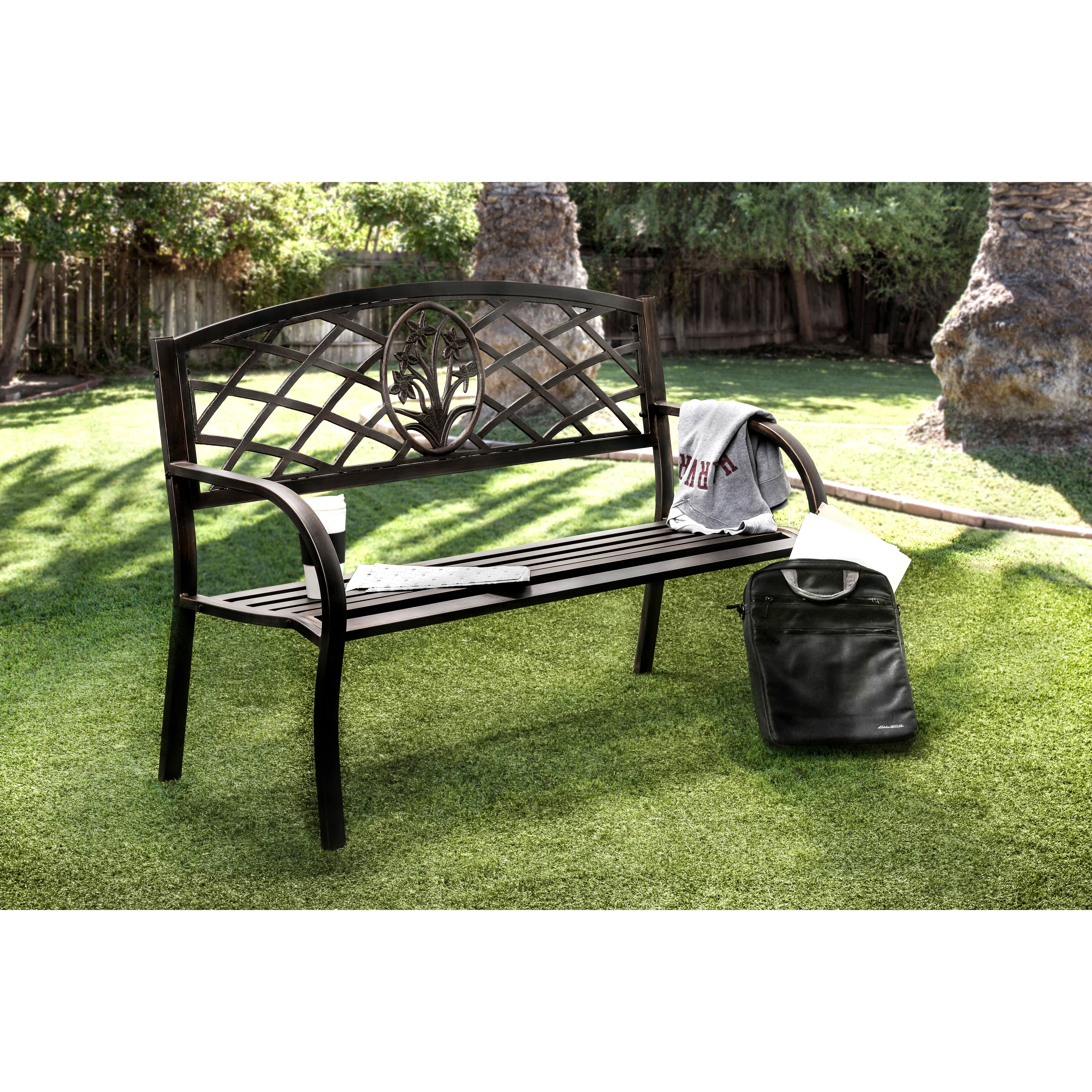 Hokku Designs Sunny Perennial Outdoor Metal Bench