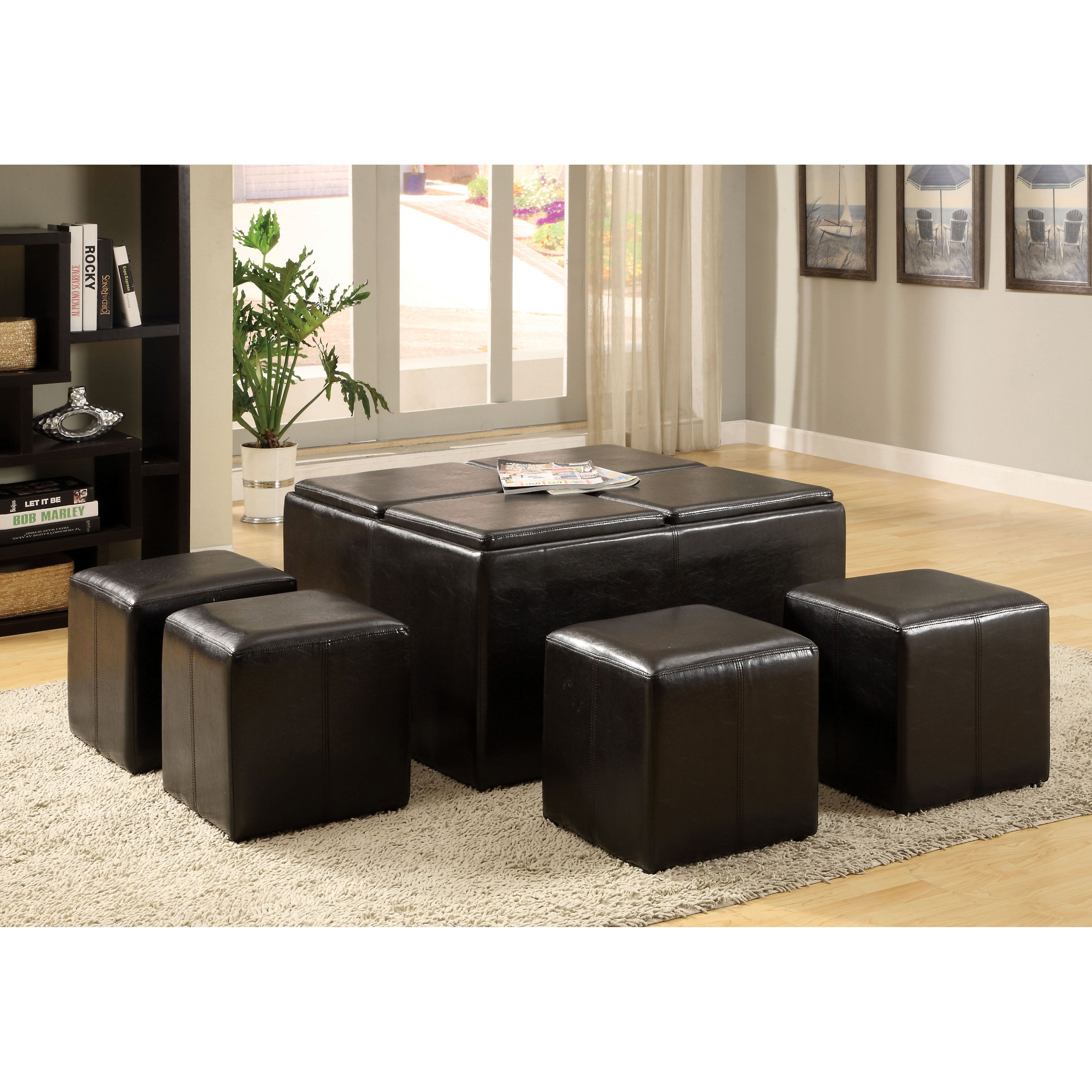 Hokku Coffee Table Sets: Hokku Designs 5 Piece Verano Coffee Table Ottoman Set