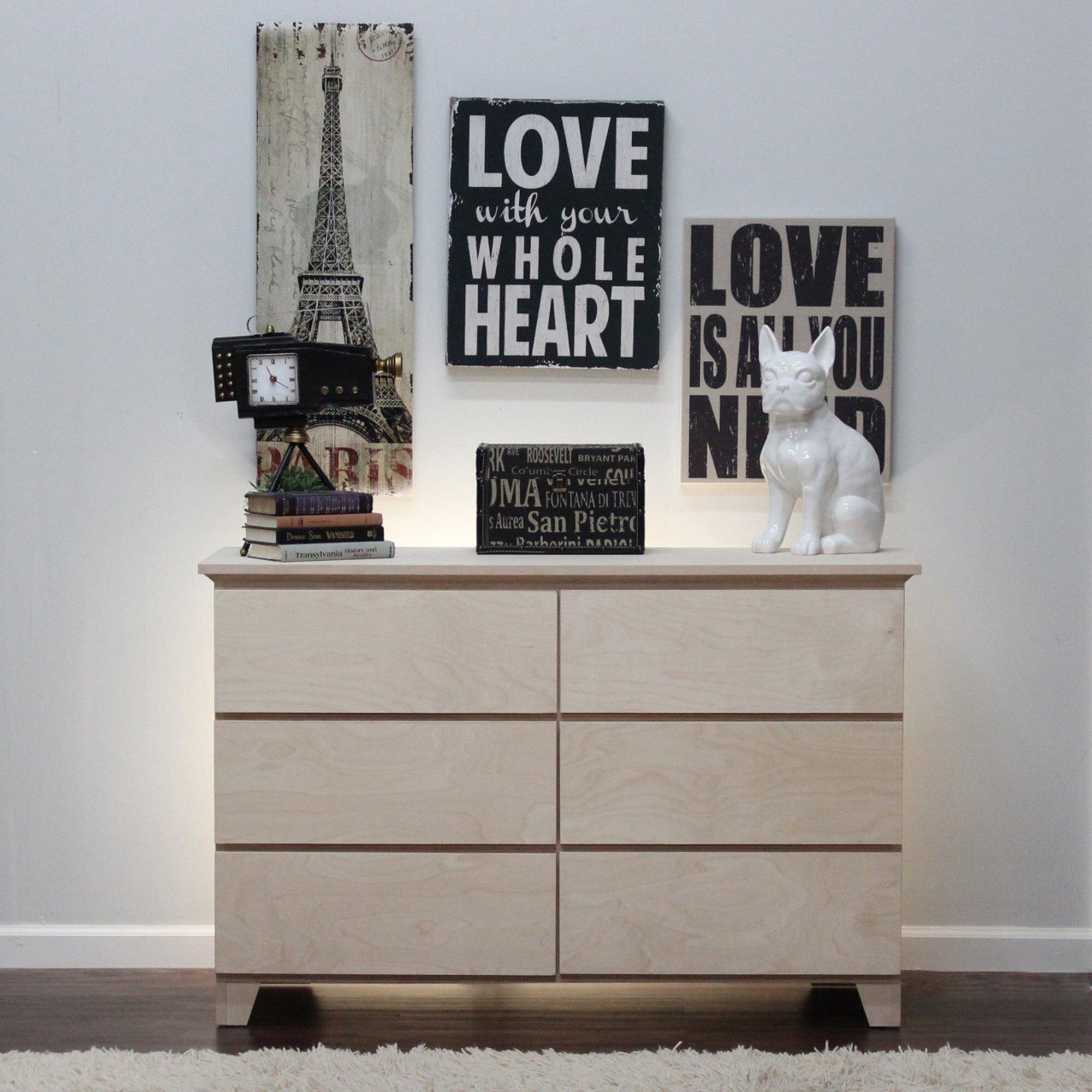 gothic furniture flat shaker 6 drawer dresser reviews wayfai