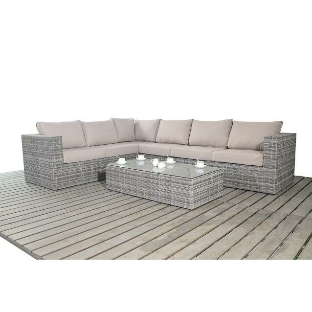 Port royal 6 seater sectional sofa set with cushions for Sectional sofa 6 seater