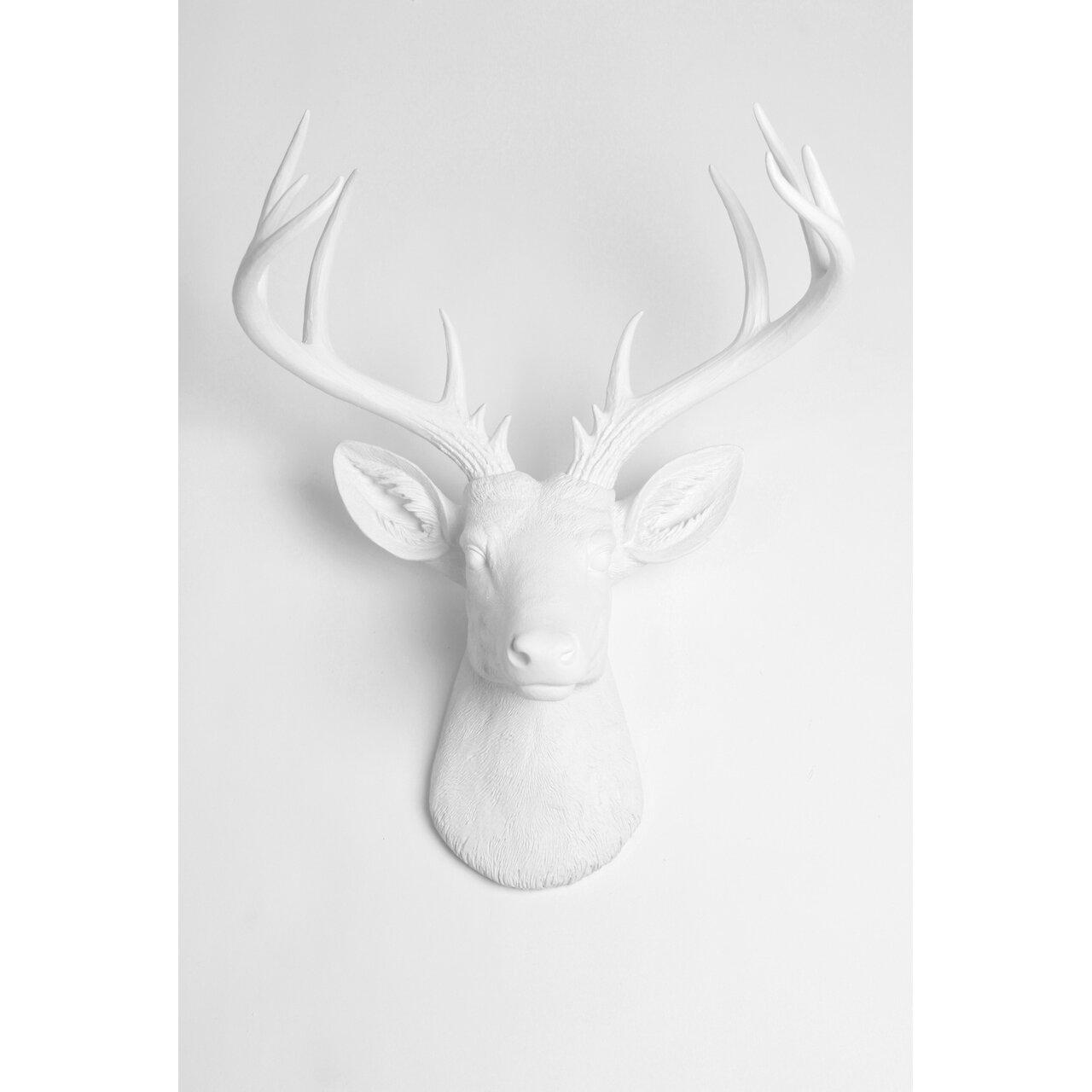 White Faux Taxidermy The XL Templeton Faux Deer Head Wall Du0026eacute;cor