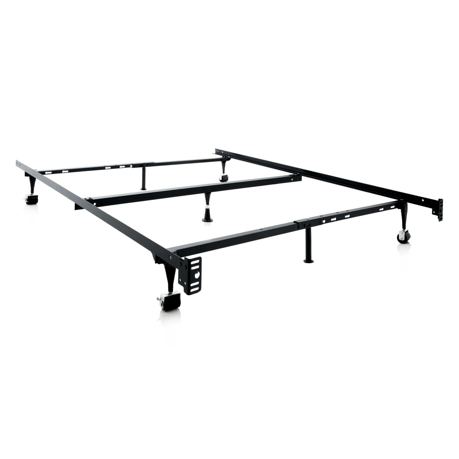 malouf heavy duty 7 leg adjustable metal bed frame with center support and rug roller
