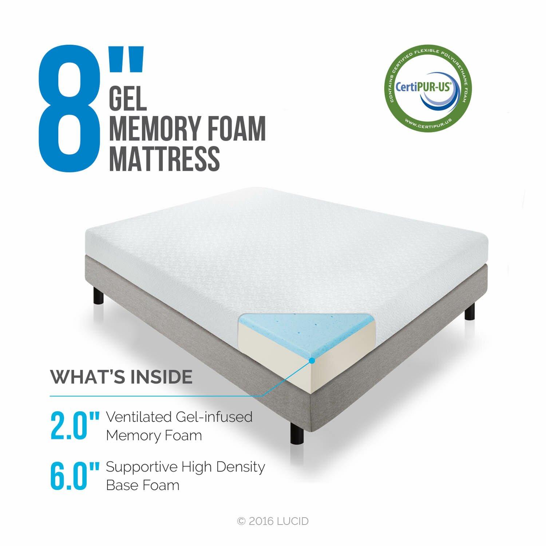 luxury photograph of lucid gel memory foam mattress