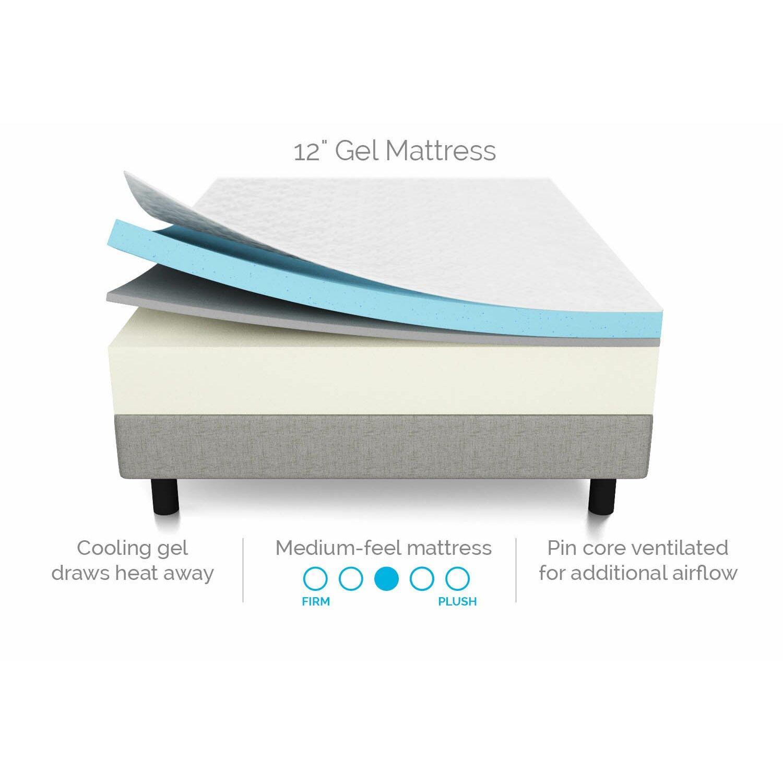 "Lucid 12"" Medium Gel Memory Foam Mattress & Reviews"
