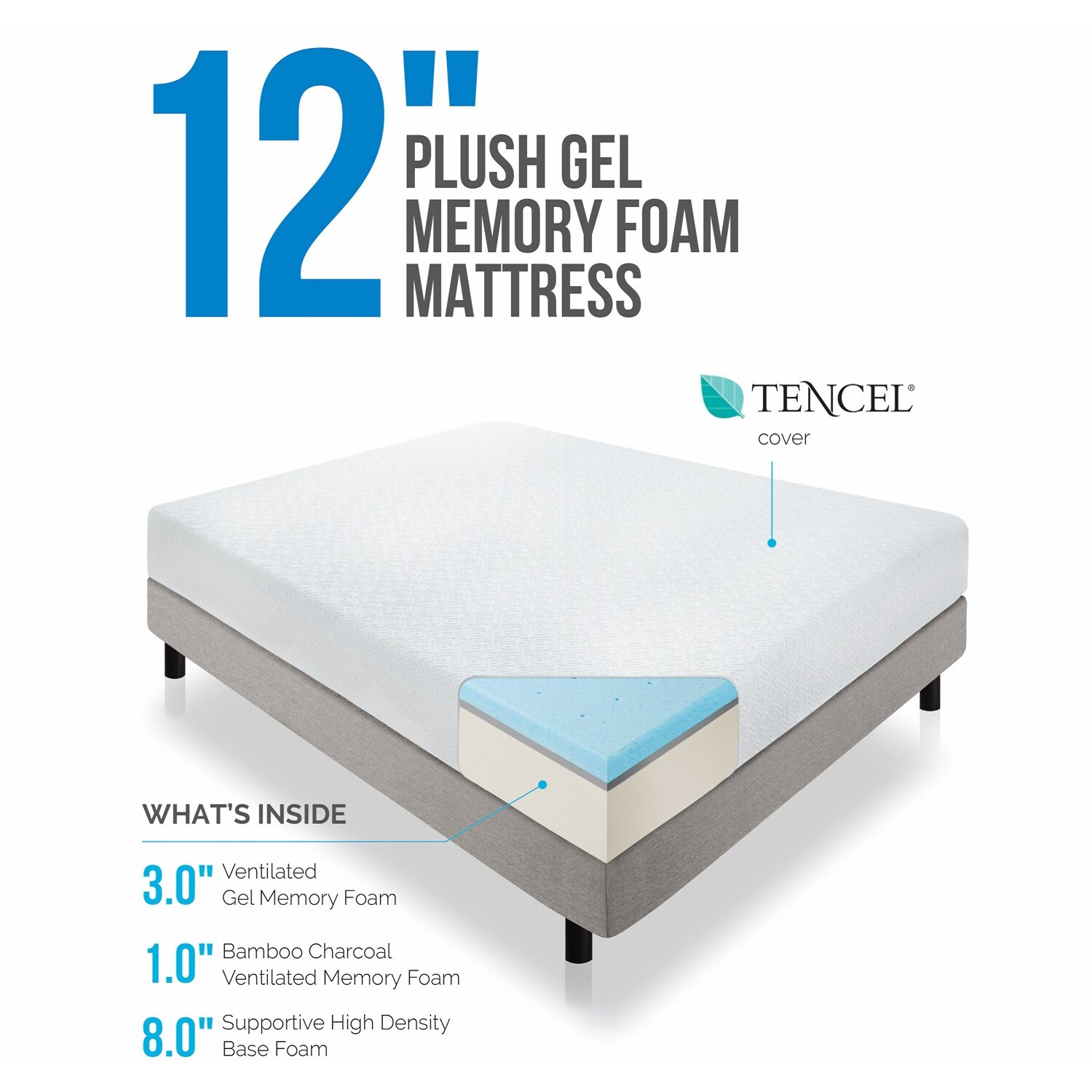 "Lucid 12"" Medium Gel Memory Foam Mattress & Reviews"