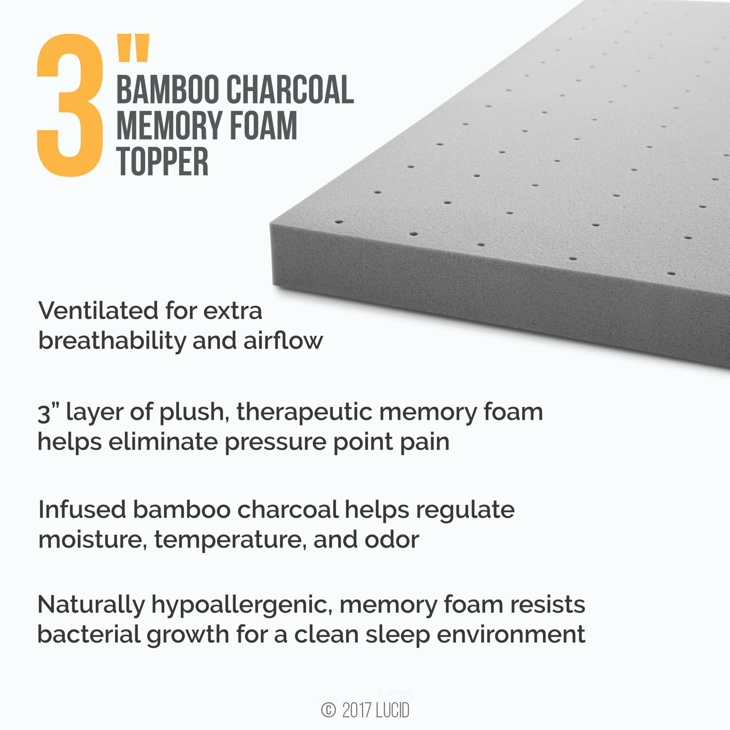 lucid 3 bamboo charcoal memory foam mattress topper. Black Bedroom Furniture Sets. Home Design Ideas