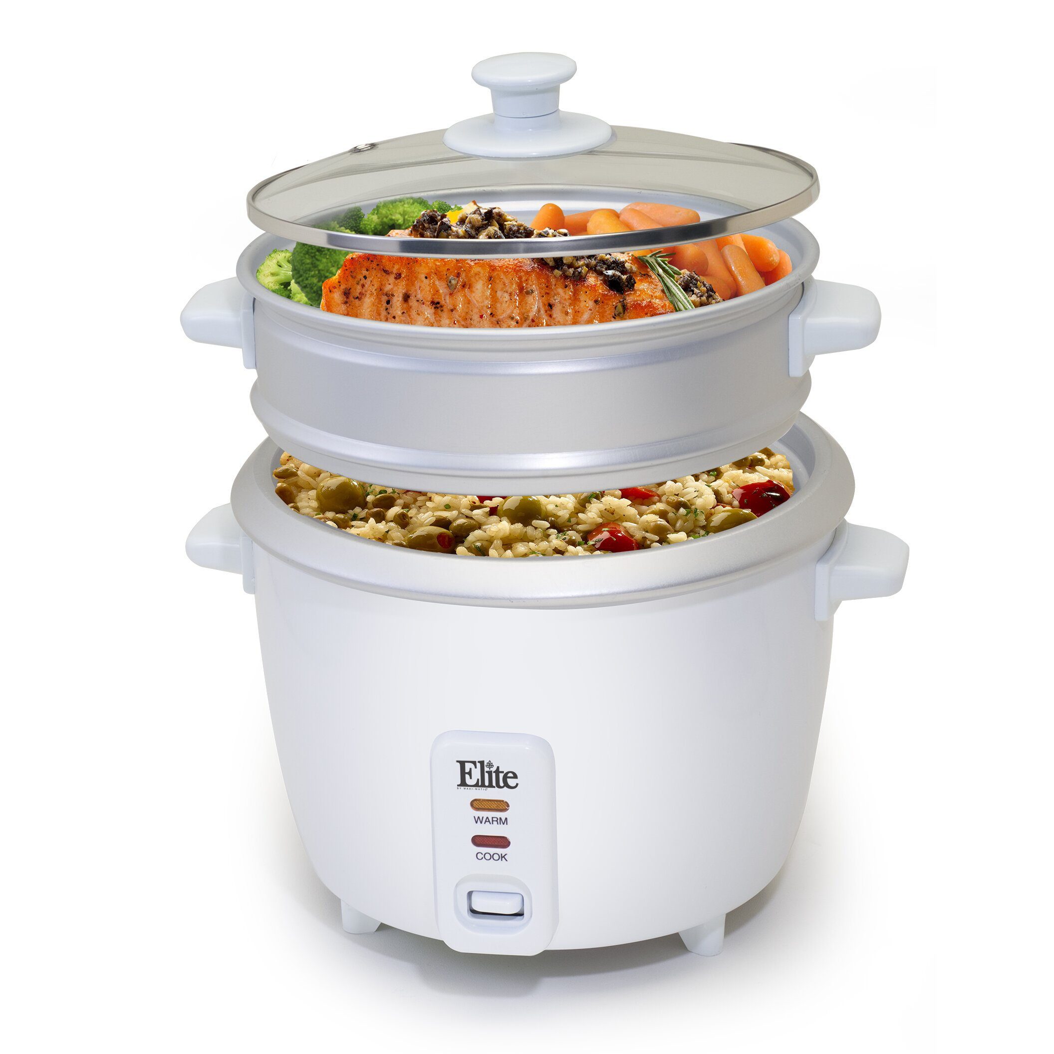 Elite By Maximatic Gourmet 16cup Rice Cooker With Steam Tray How To Make  Quinoa