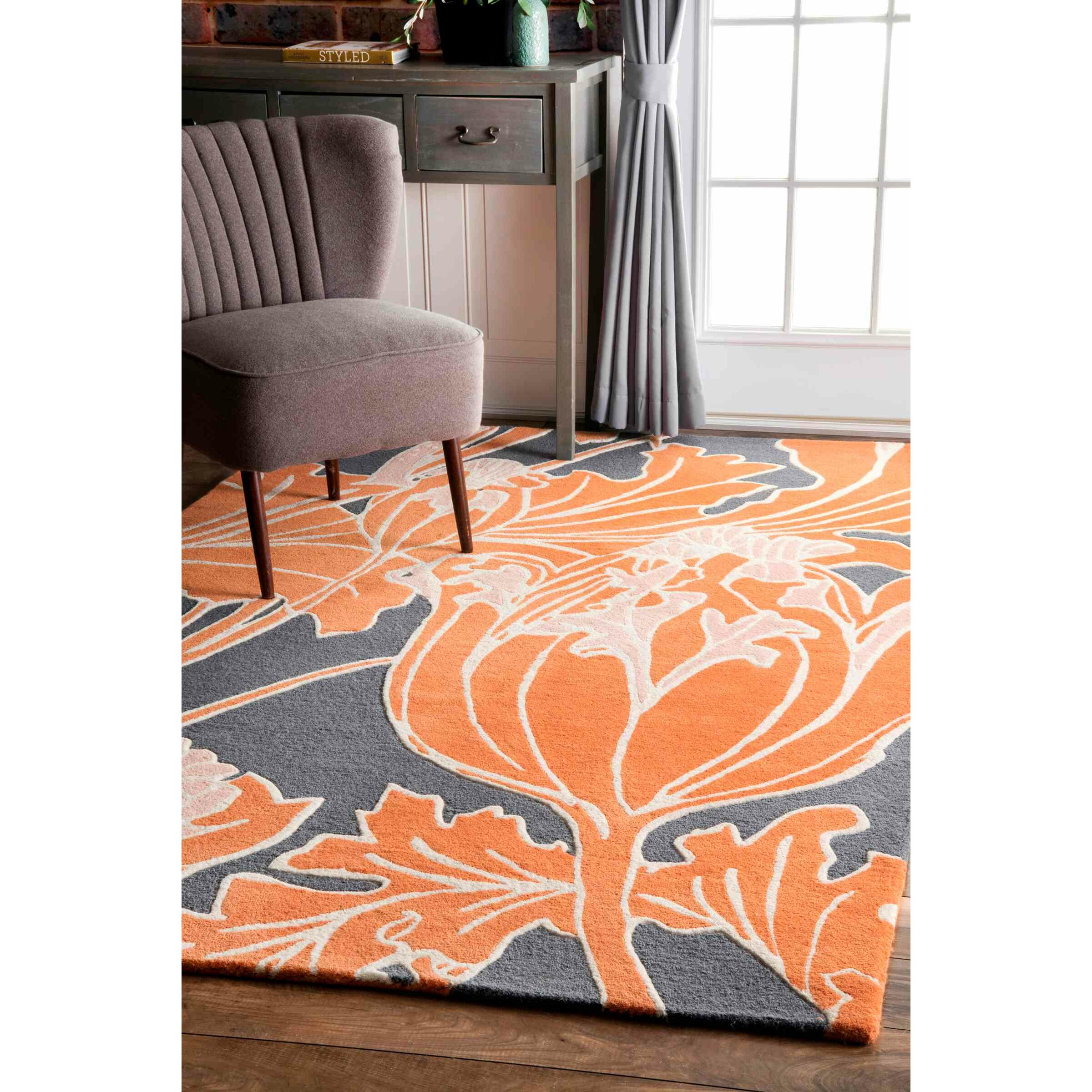 orange and brown area rugs  roselawnlutheran - victory land thomas paul handtufted orangegray area rug