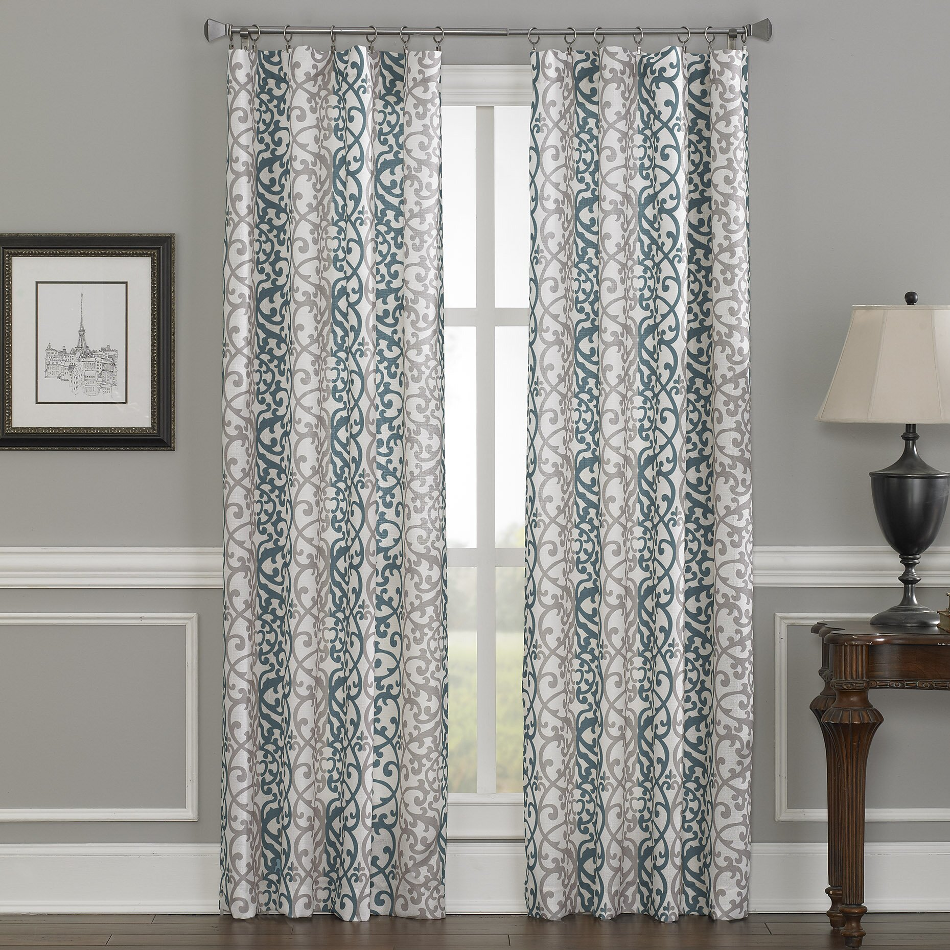 Gray and white damask curtains - Damask Single Curtain Panel