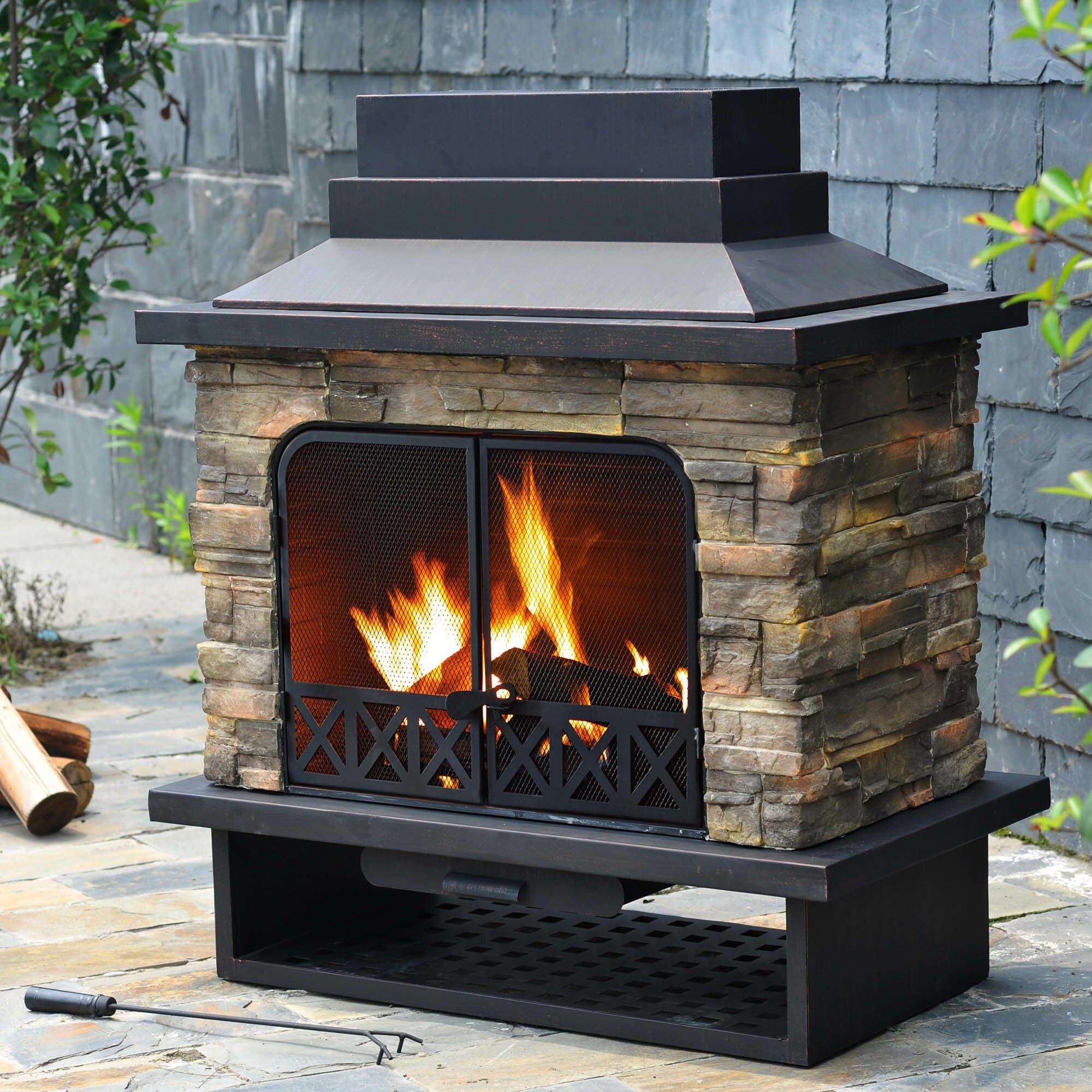 Sunjoy Felicia Steel Wood Outdoor Fireplace & Reviews ... on Backyard Chimney Fireplace id=76259