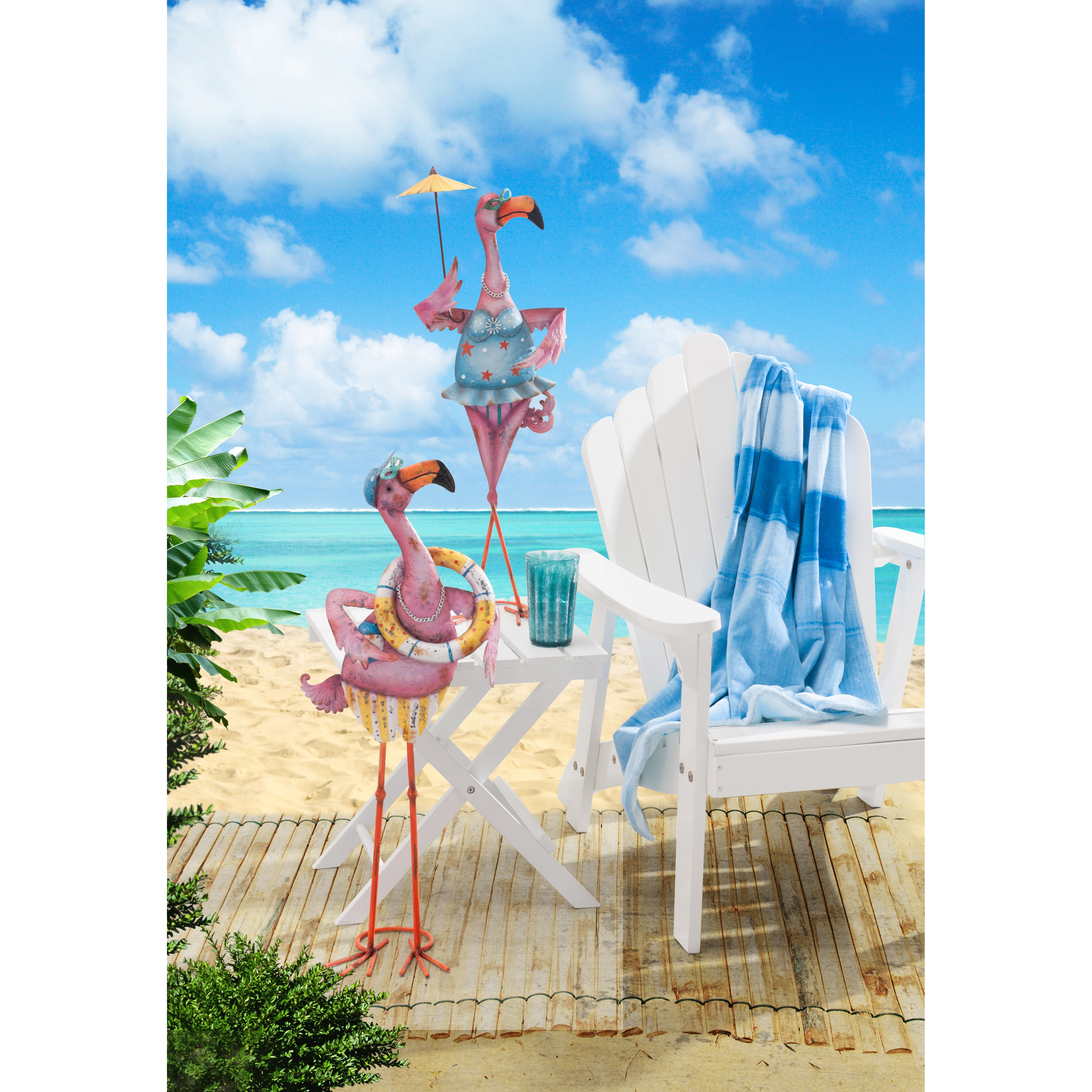 California Pizza Kitchen Garden Walk Sunjoy Eccentric 2 Piece Flamingo Couple Garden Statue Set