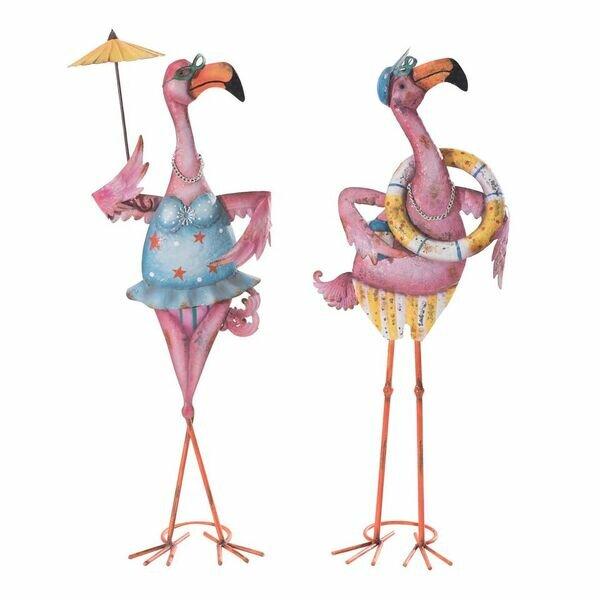 Sunjoy Eccentric 2 Piece Flamingo Couple Garden Statue Set