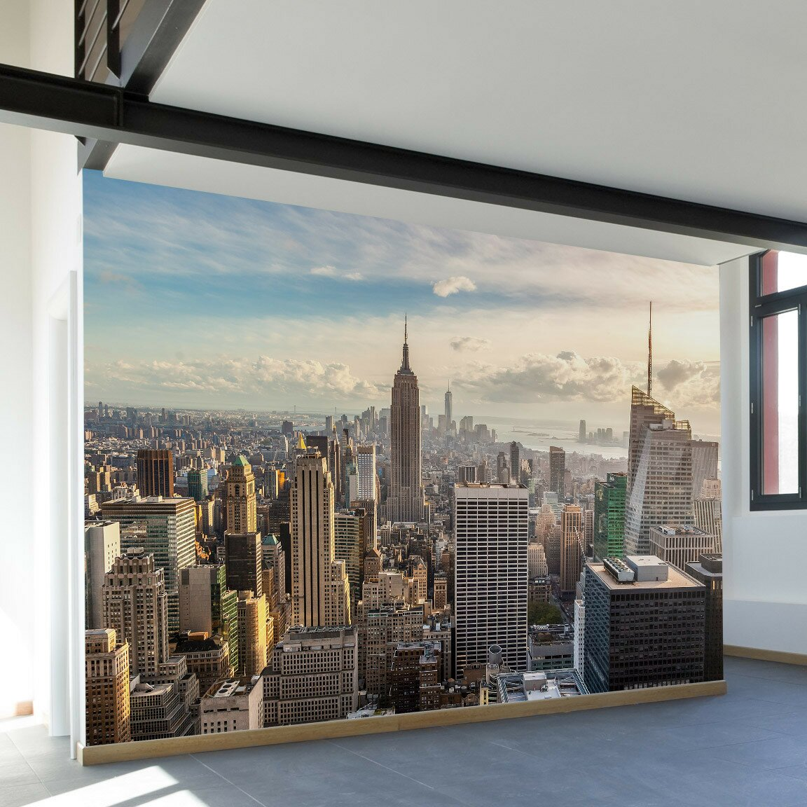 walls need love new york skyline wall mural reviews. Black Bedroom Furniture Sets. Home Design Ideas
