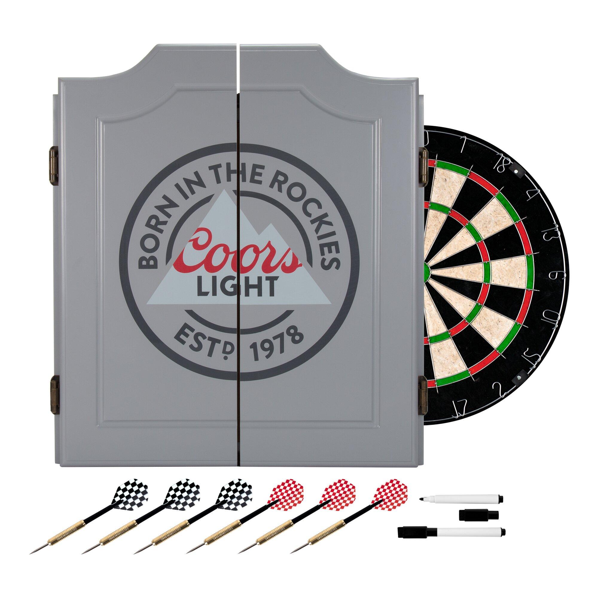 Dart Board Cabinet With Chalkboard Miller Coors Coors Light Dartboard Cabinet Set Reviews Wayfair