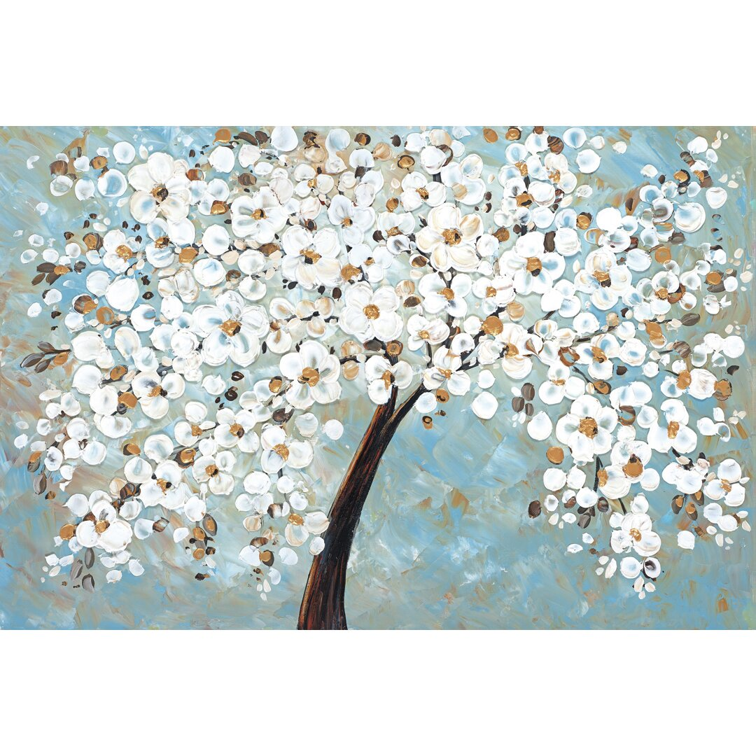 Portfolio Canvas u0026quot;White Cherry Blossomu0026quot; by Jolina Anthony Painting Print on Wrapped Canvas ...