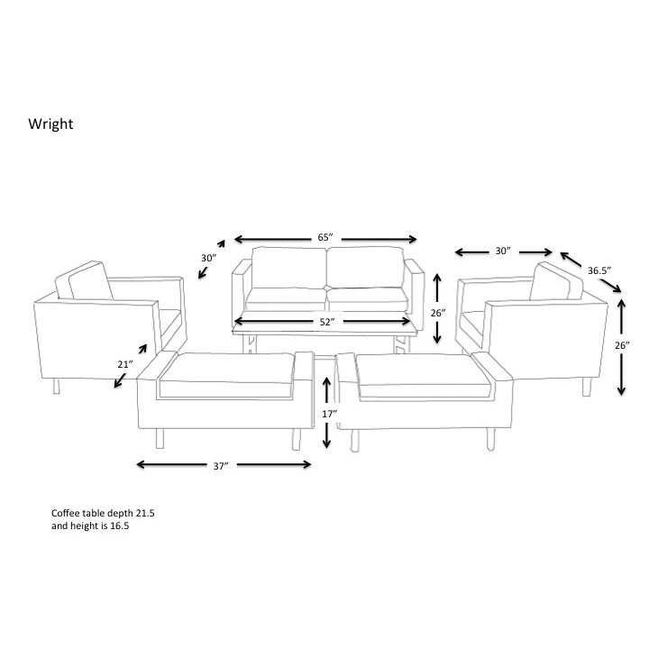 Ae outdoor wright 6 piece deep seating group with cushion for Outdoor furniture dimensions
