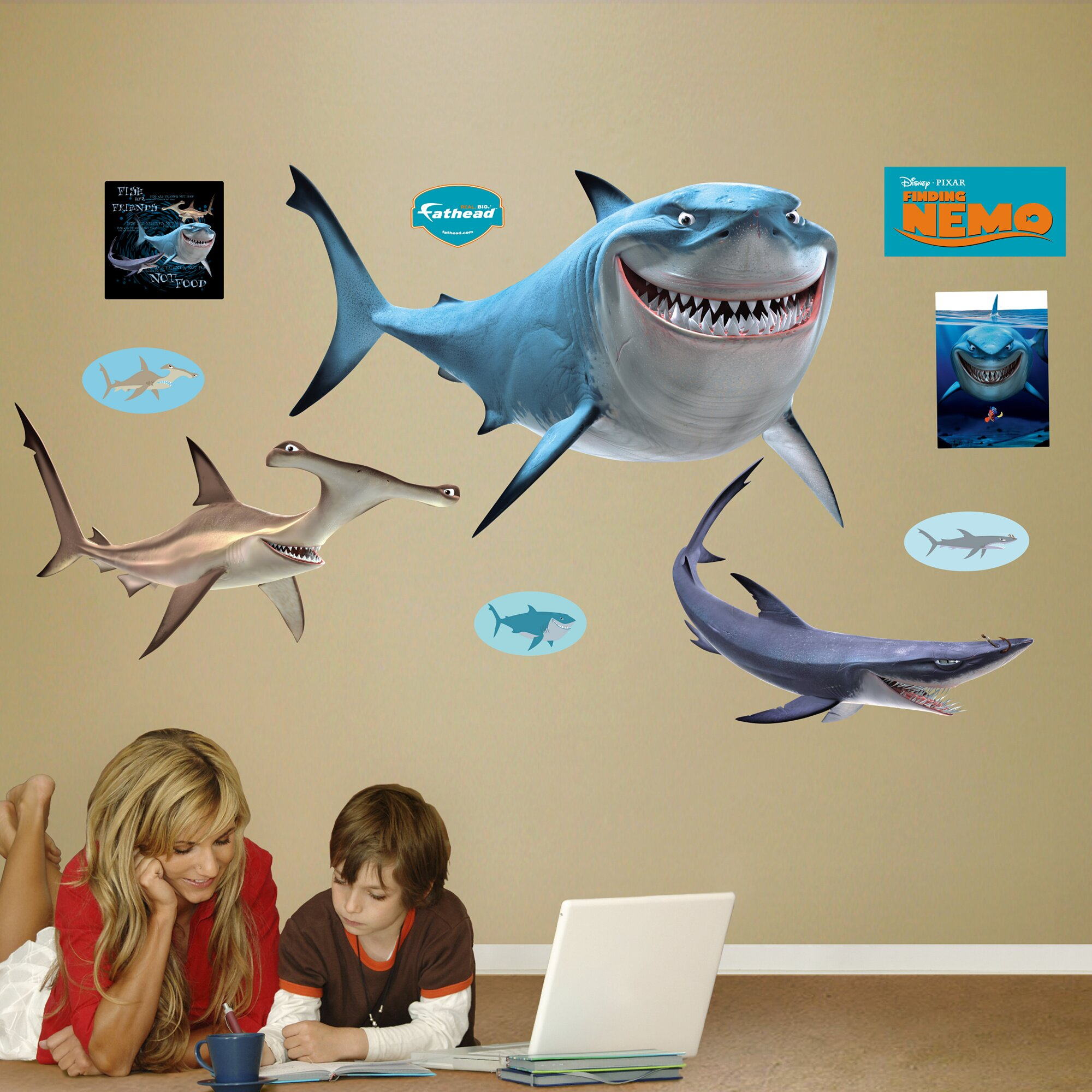 Fathead wall decals roselawnlutheran fathead disney finding nemo sharks wall decal amipublicfo Choice Image