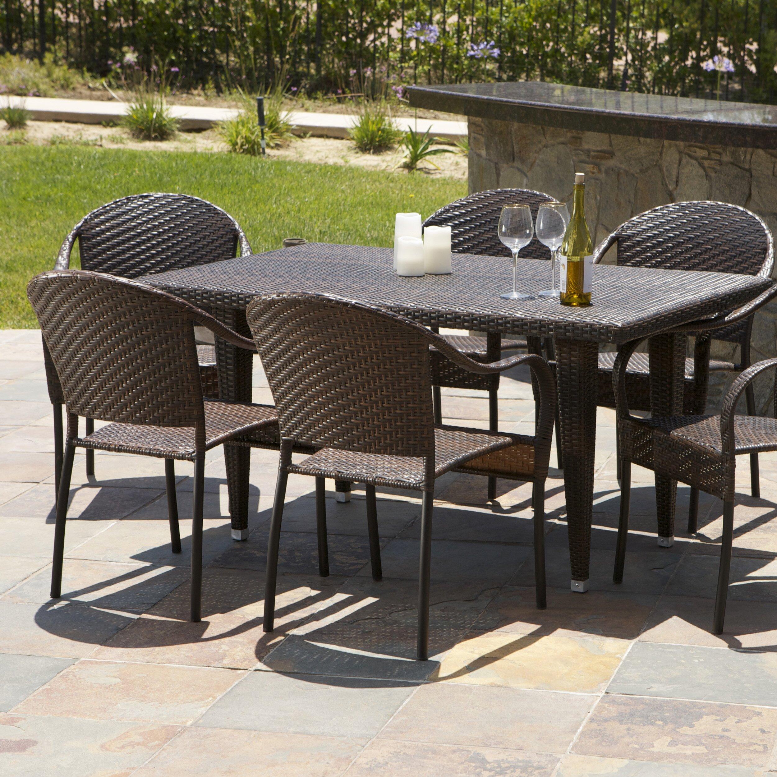 Home Loft Concepts Dimke 7pc Polyethylene Wicker Outdoor Dining Set