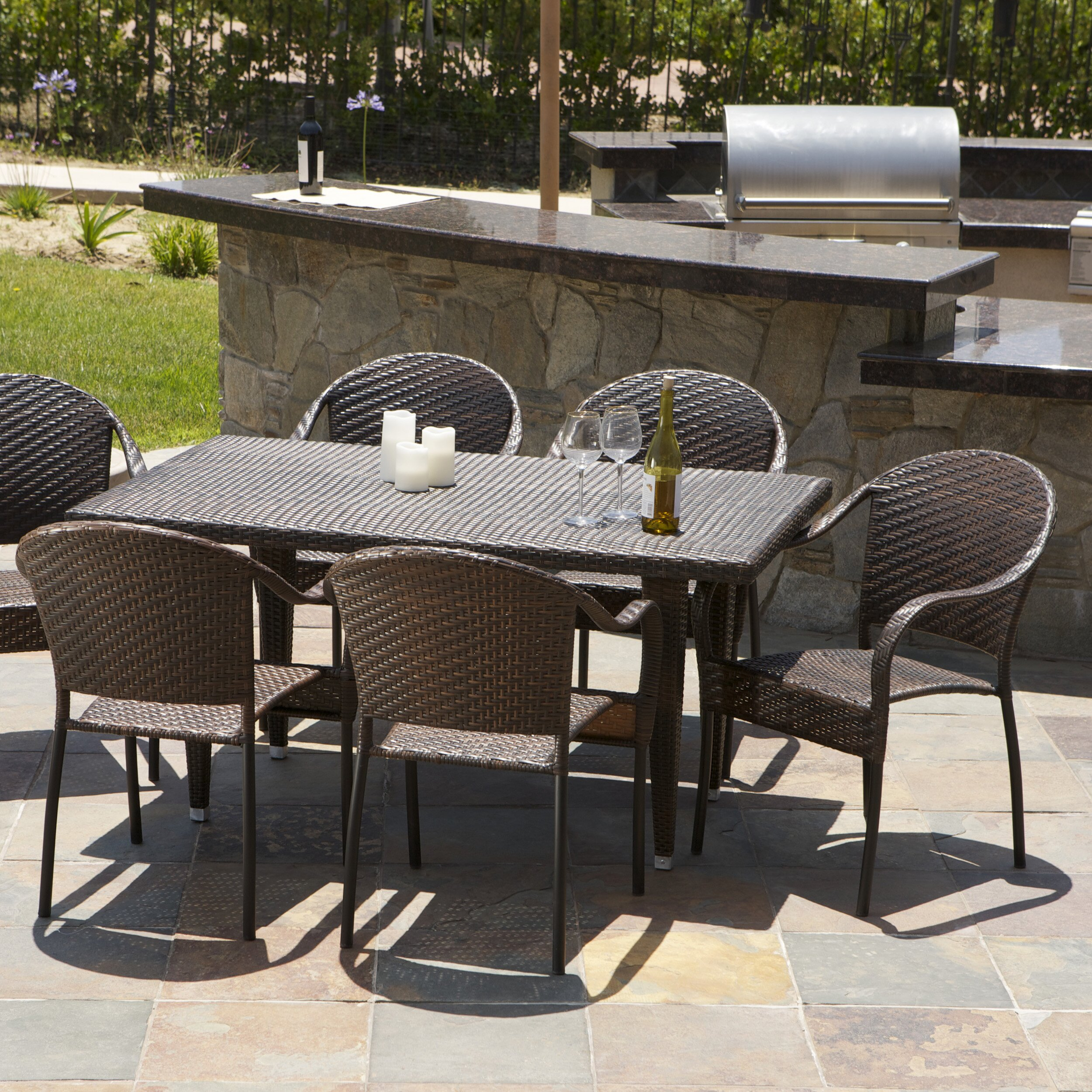 ... Home Loft Concepts Dimke 7pc Polyethylene Wicker Outdoor Dining Set ...