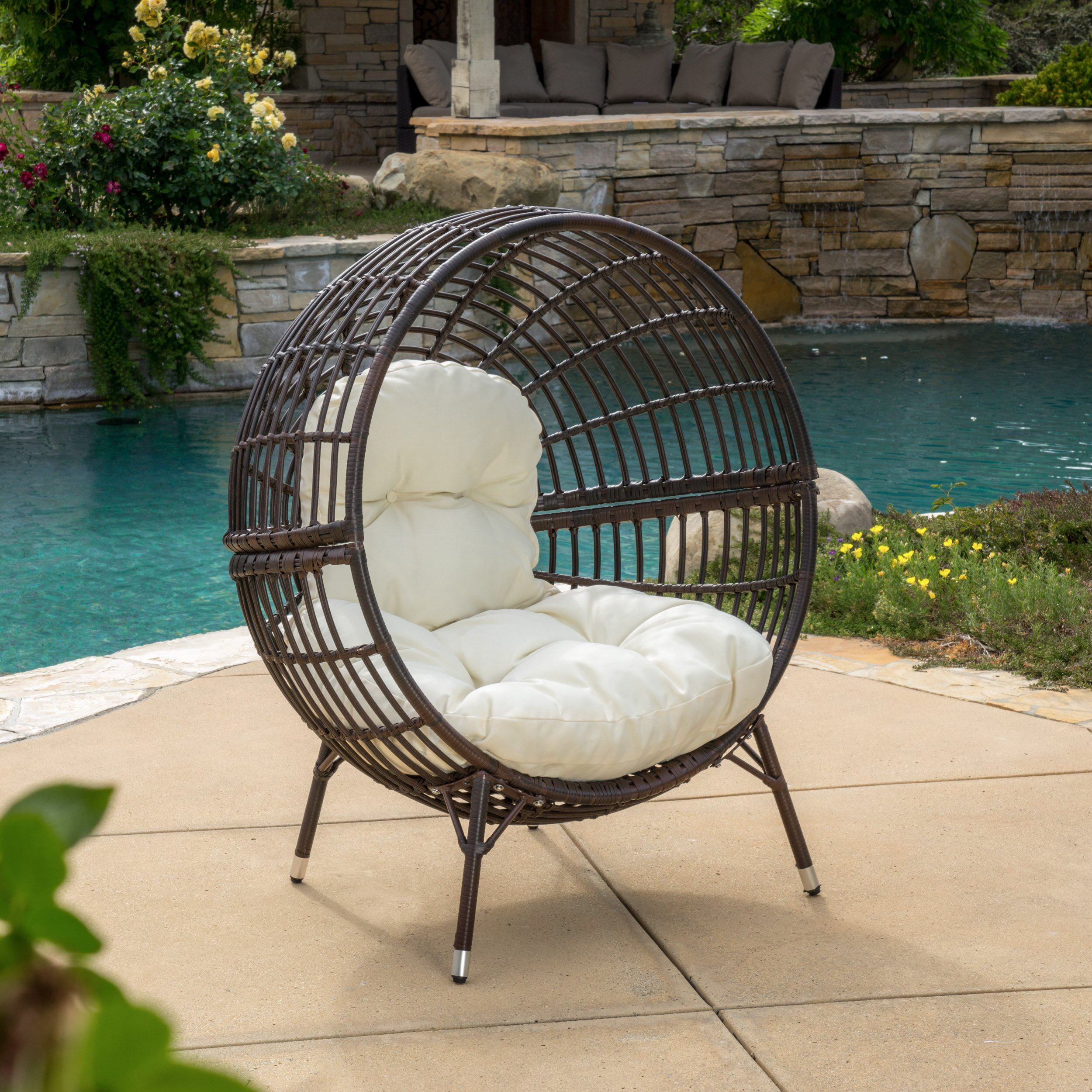 Brayden Studio Mcanally Round Ball Chair With Cushions  Reviews - Tropitone outdoor furniture