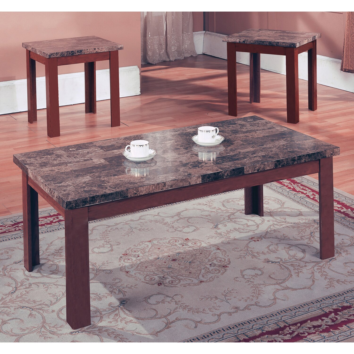 End Table And Coffee Table Set Andover Mills Cecil Marble Top 3 Piece Coffee Table Set Reviews