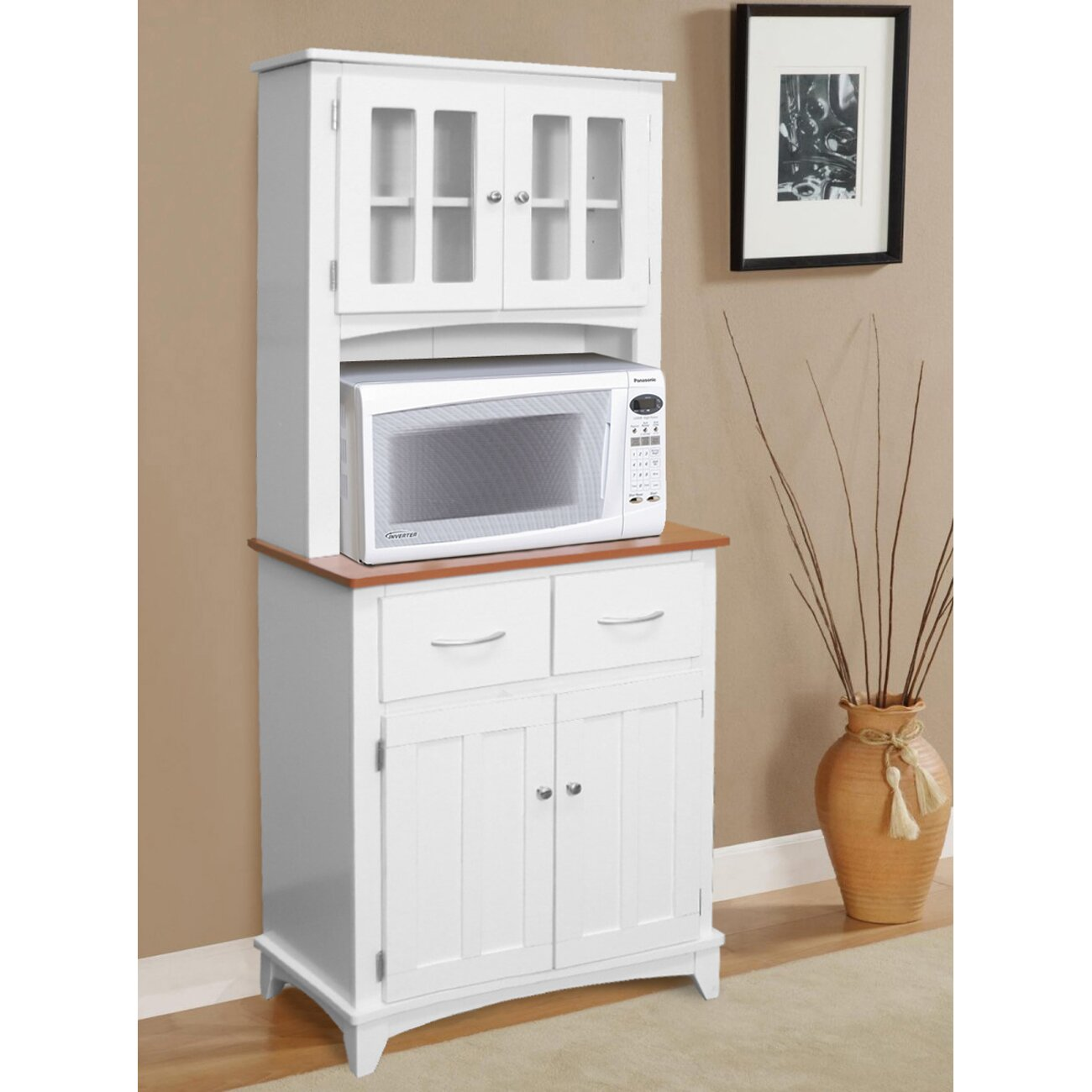 White Kitchen Hutch microwave cabinet with hutch