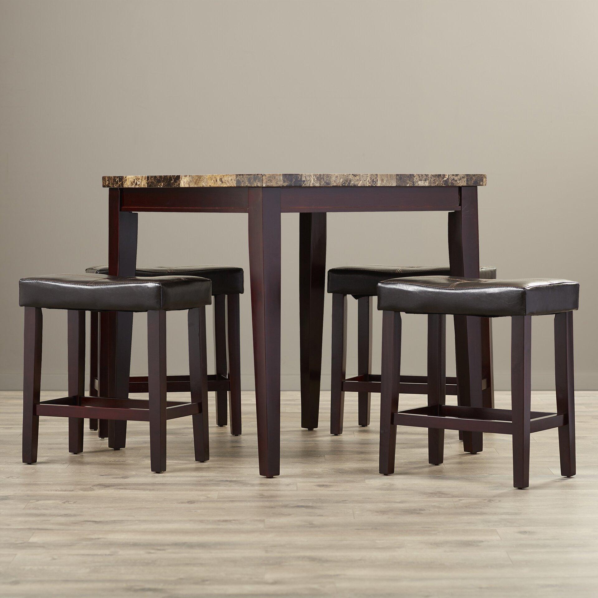 andover mills arline 5 piece pub table set reviews wayfair. Black Bedroom Furniture Sets. Home Design Ideas