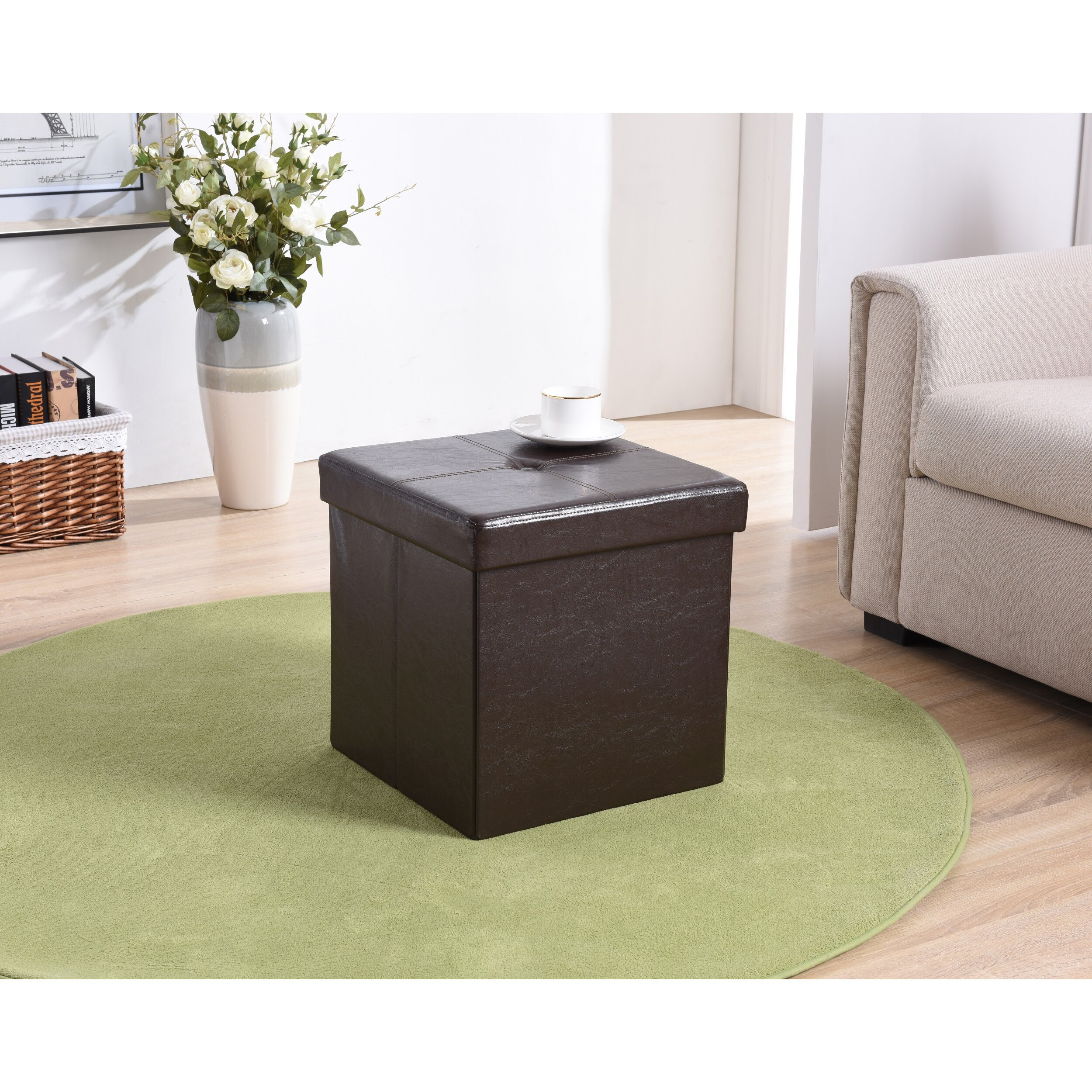 Andover Mills Carisbrooke Cube Upholstered Storage Ottoman